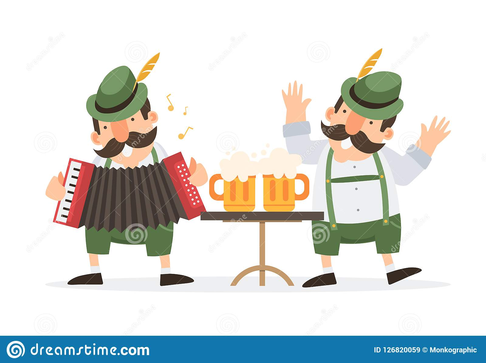 Oktoberfest. Two funny cartoon mens in traditional Bavarian costume with beer mugs celebrate and have fun at Oktoberfest beer fest