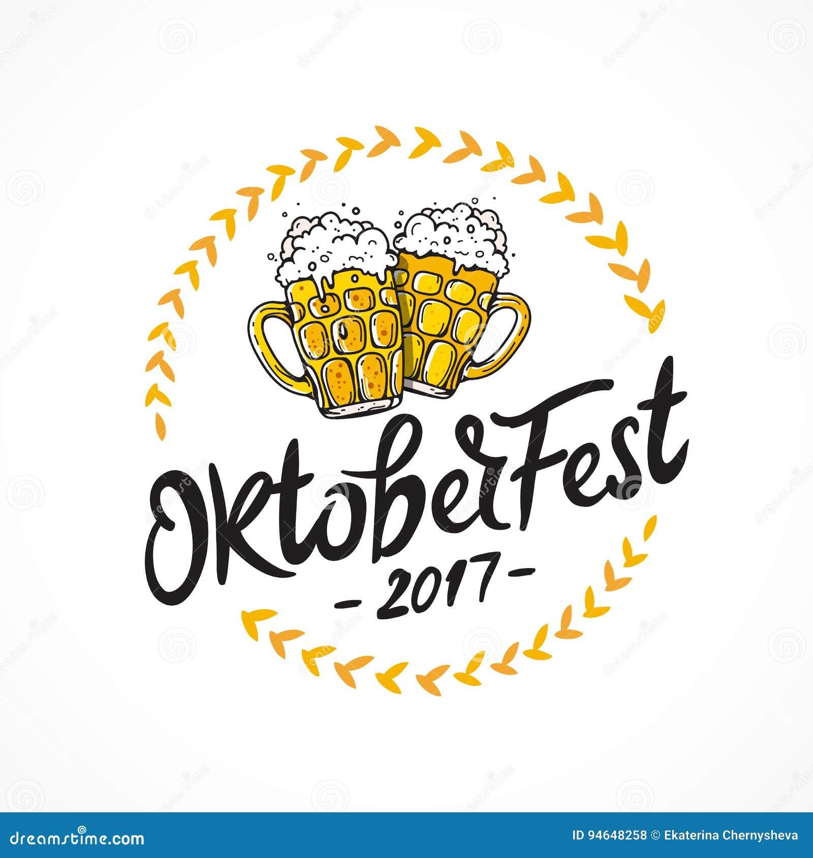 Oktoberfest 2017 Zwei Becher Bier Vektor Abbildung - Illustration ...