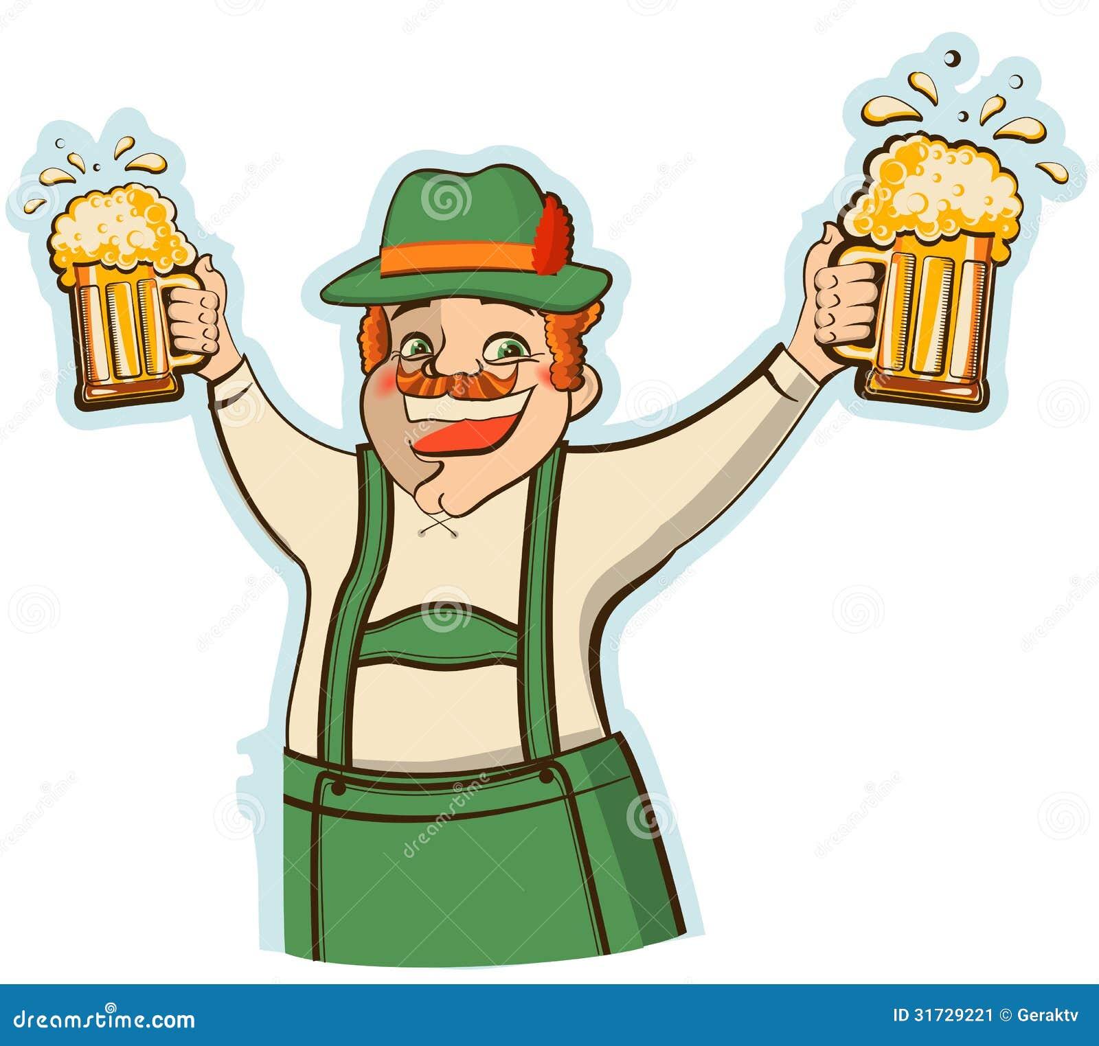Oktoberfestmens Met Glazen Bier. Vector Illust Stock Afbeelding ...