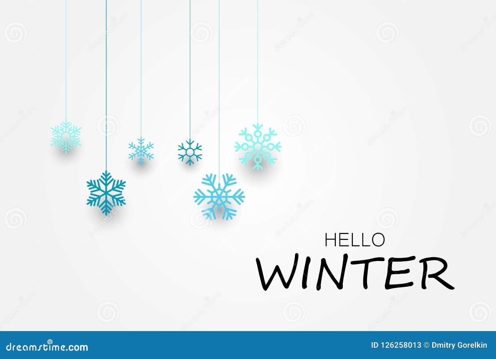 Olá! bandeira do inverno com flocos de neve