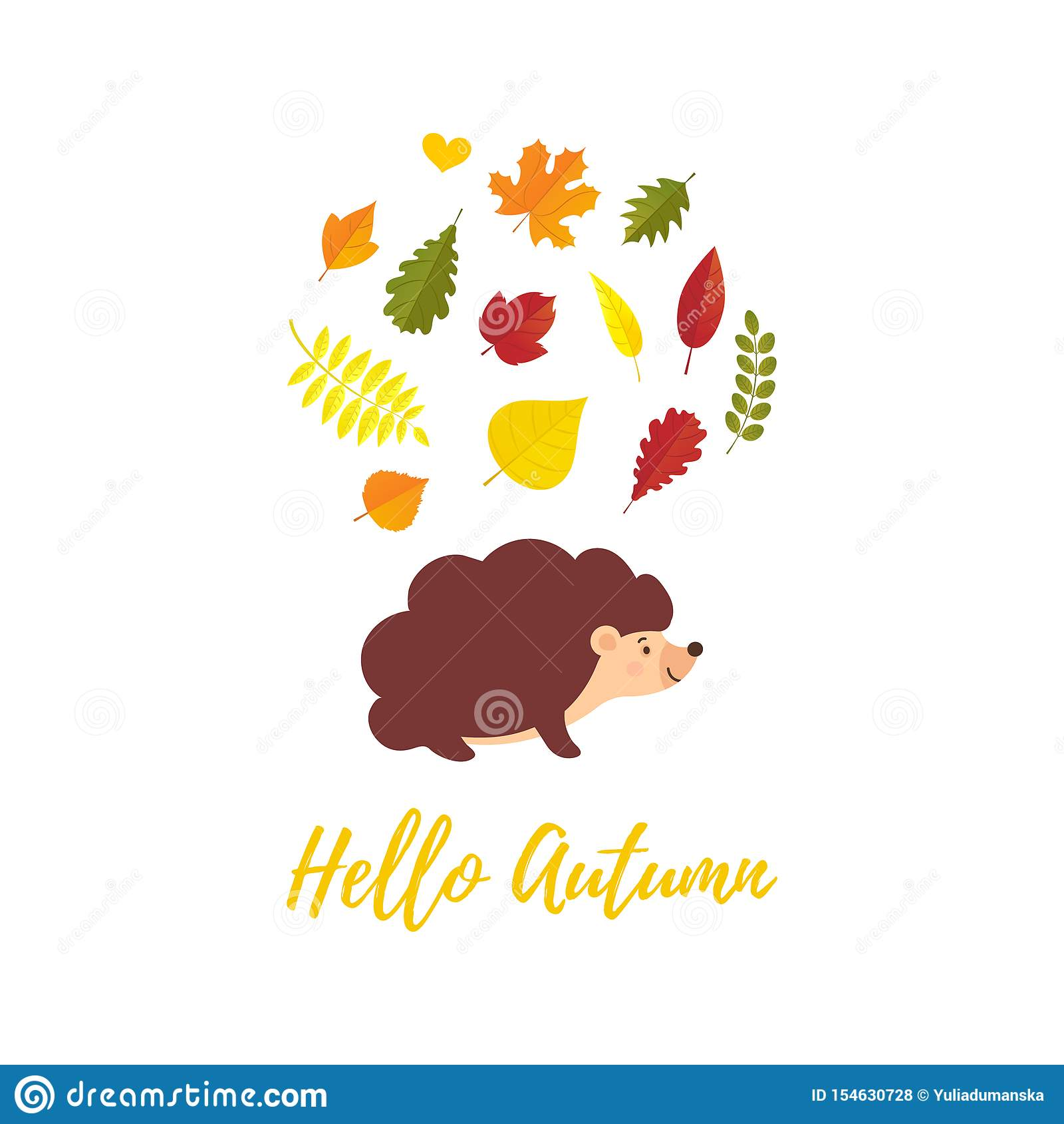 Olá! cartão do outono com as folhas de outono de queda e estilo liso do ouriço dos desenhos animados Queda de Welcone Decorativo