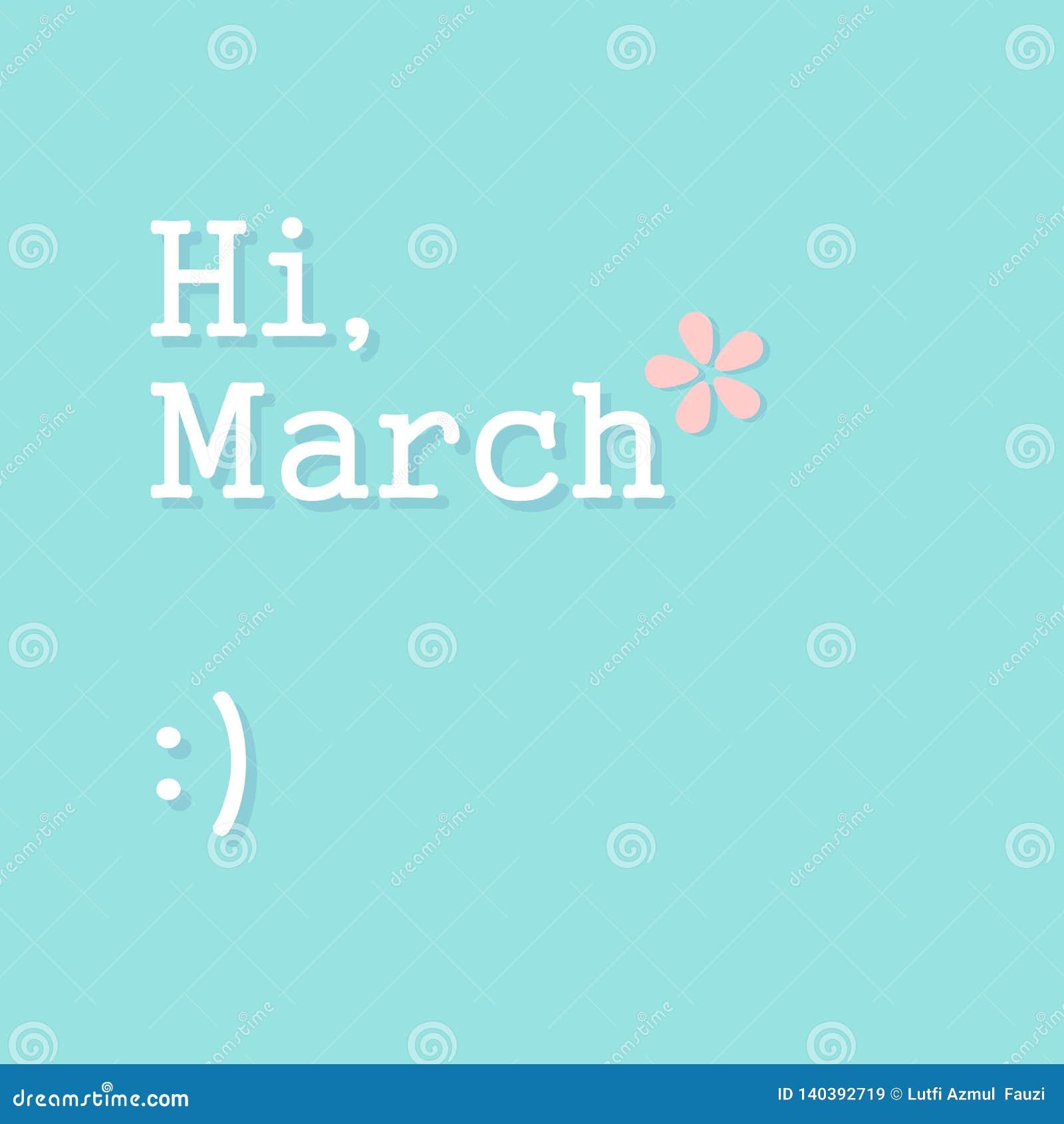 Olá! fundo de março - vetor