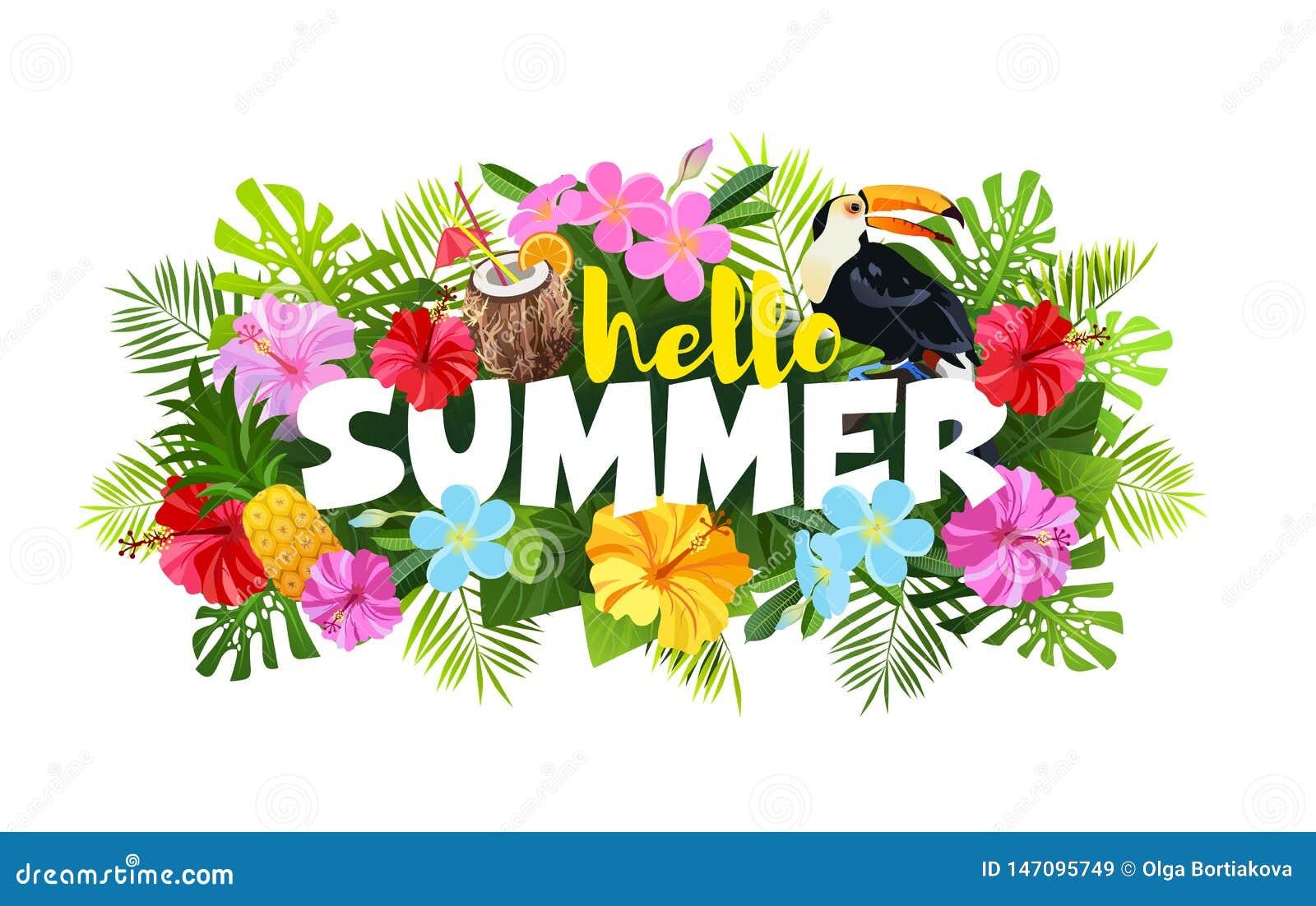 Olá! ilustração do vetor da composição do verão