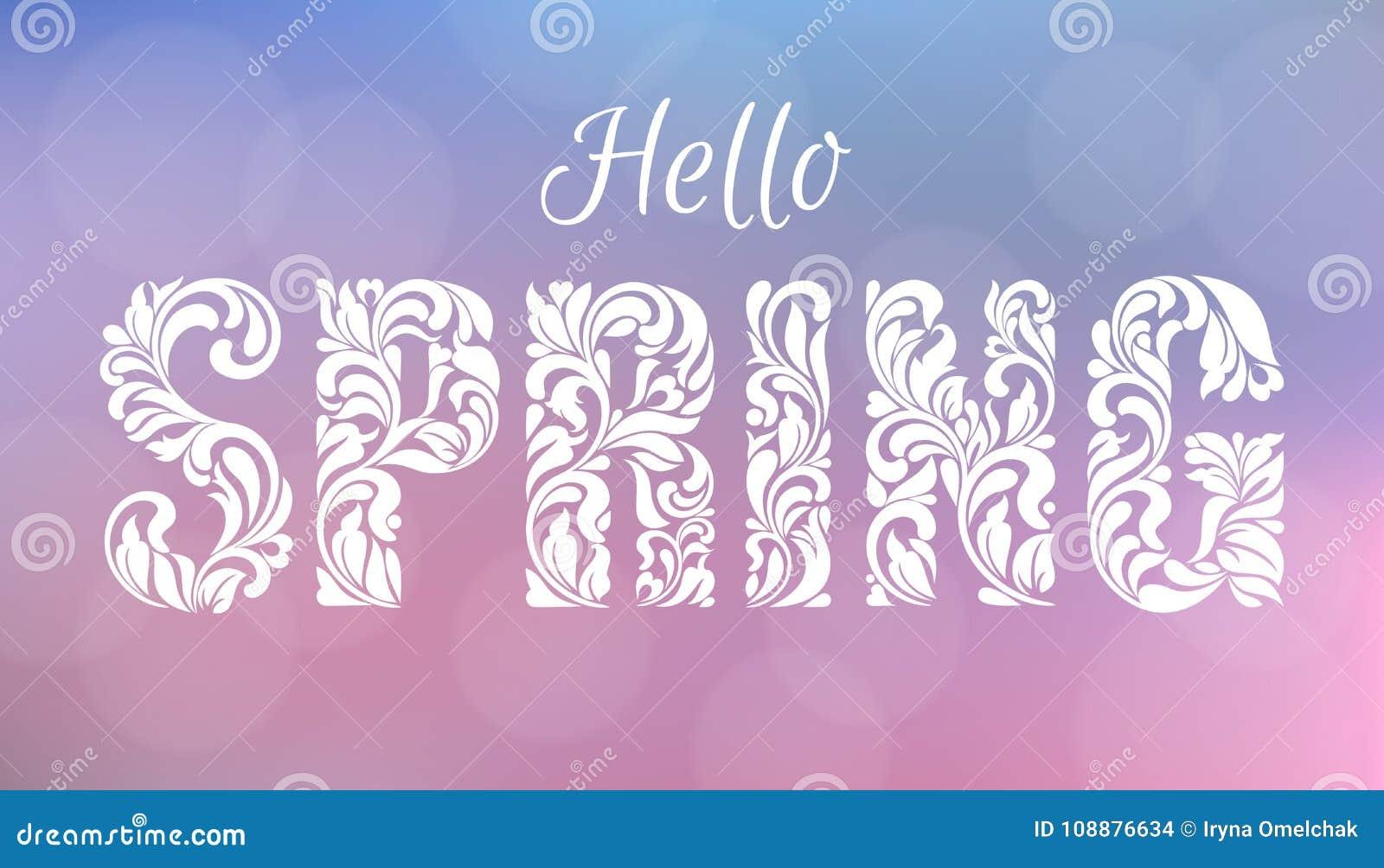Olá!, mola Fonte decorativa feita dos redemoinhos e de elementos florais Fundo borrado delicado de tons cor-de-rosa e azuis com b