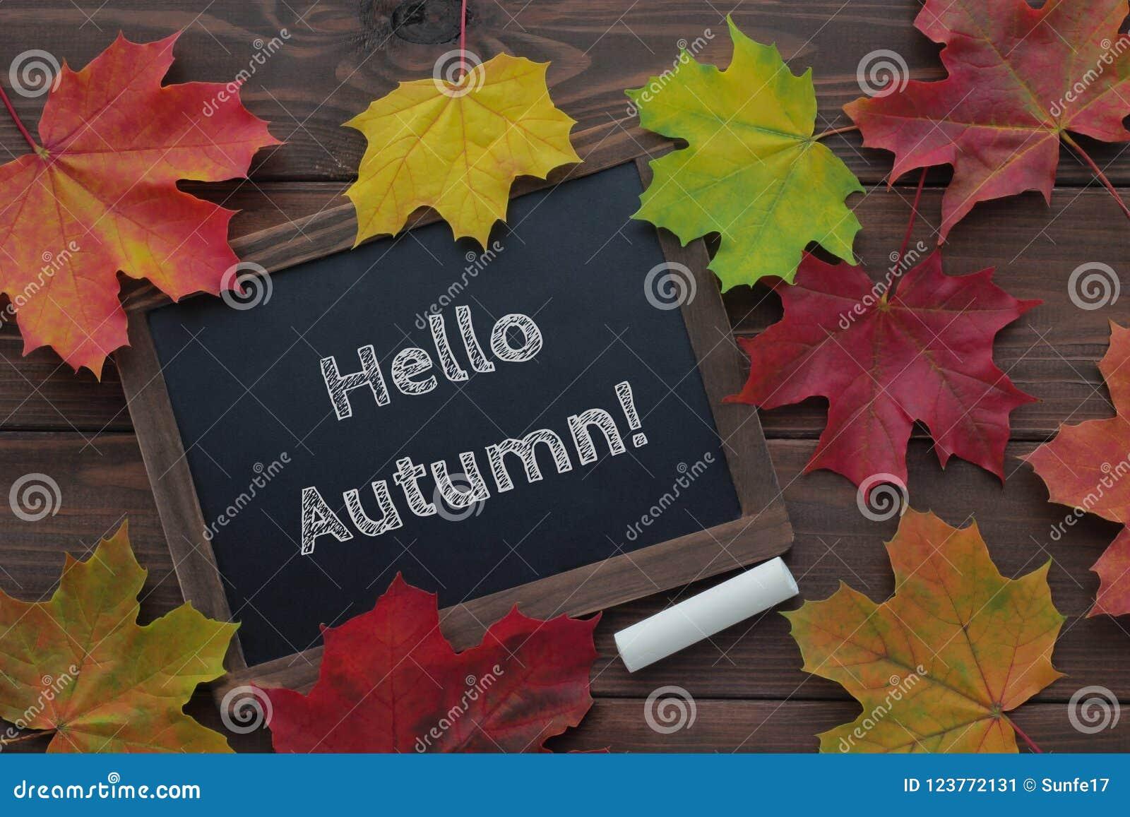 Olá! texto do outono no quadro