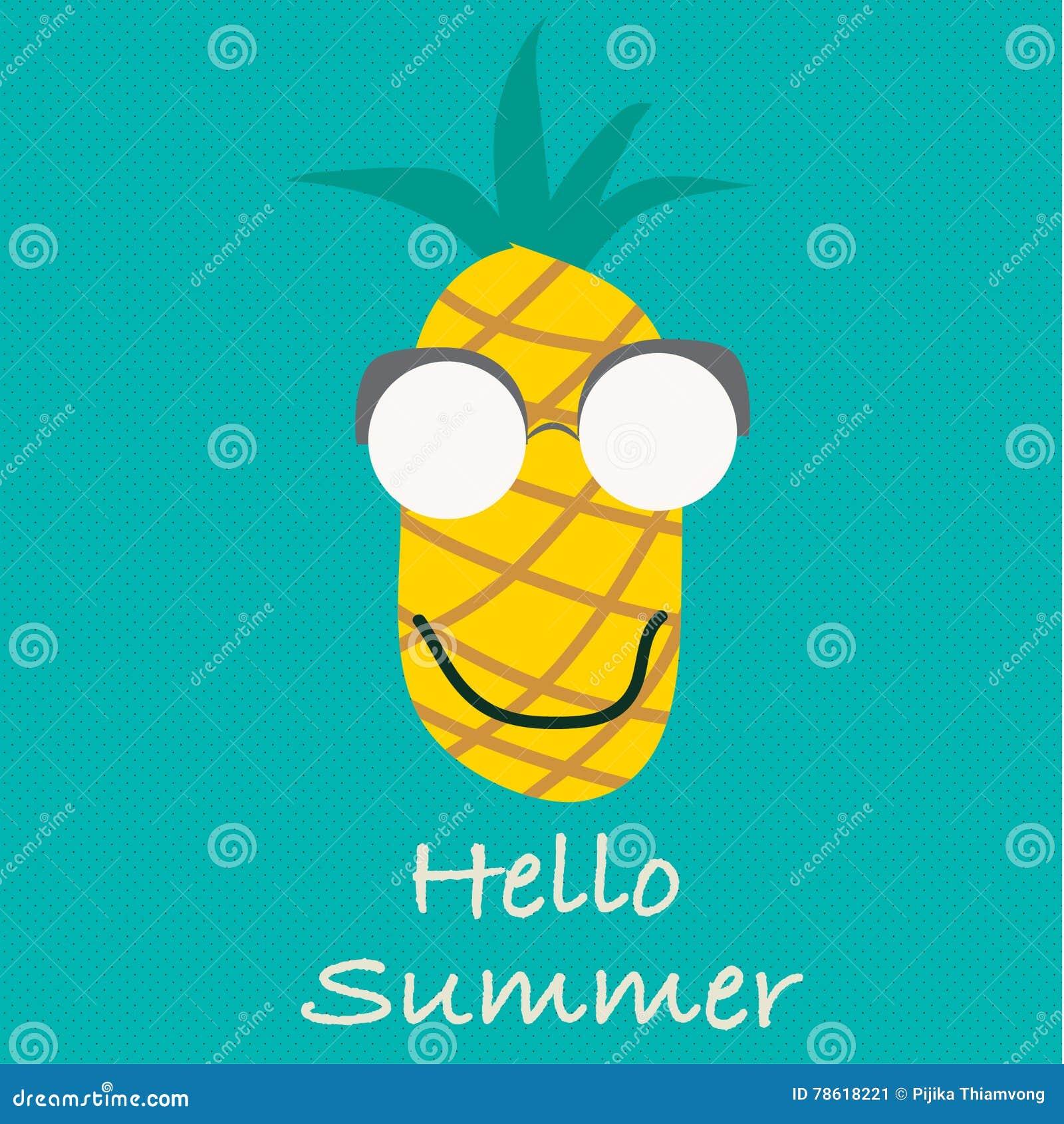 Olá! vetor do verão Frutos do abacaxi