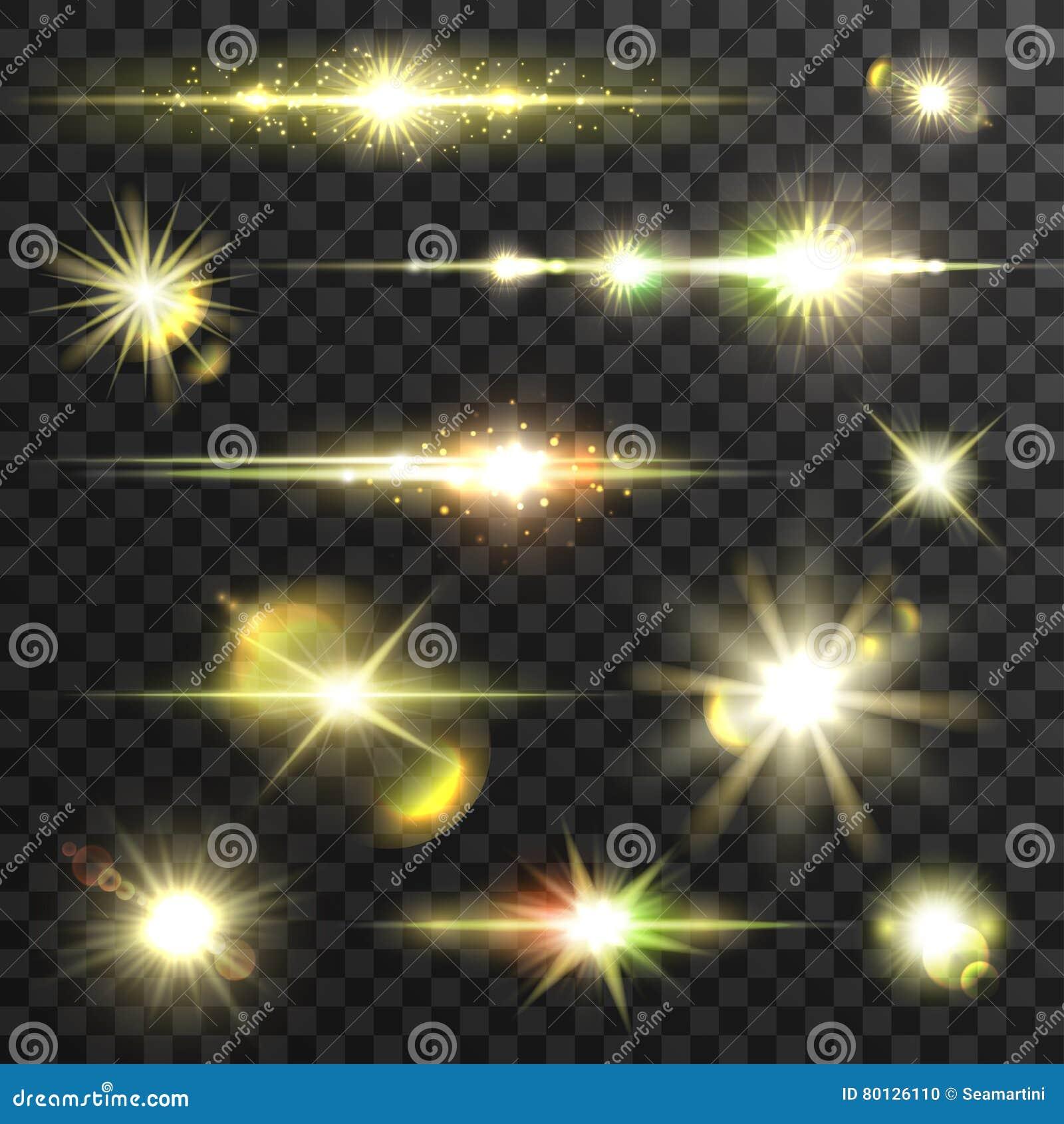 Olśniewający gwiazdowy lekkich promieni wektorowy ustawiający z obiektyw opłatą