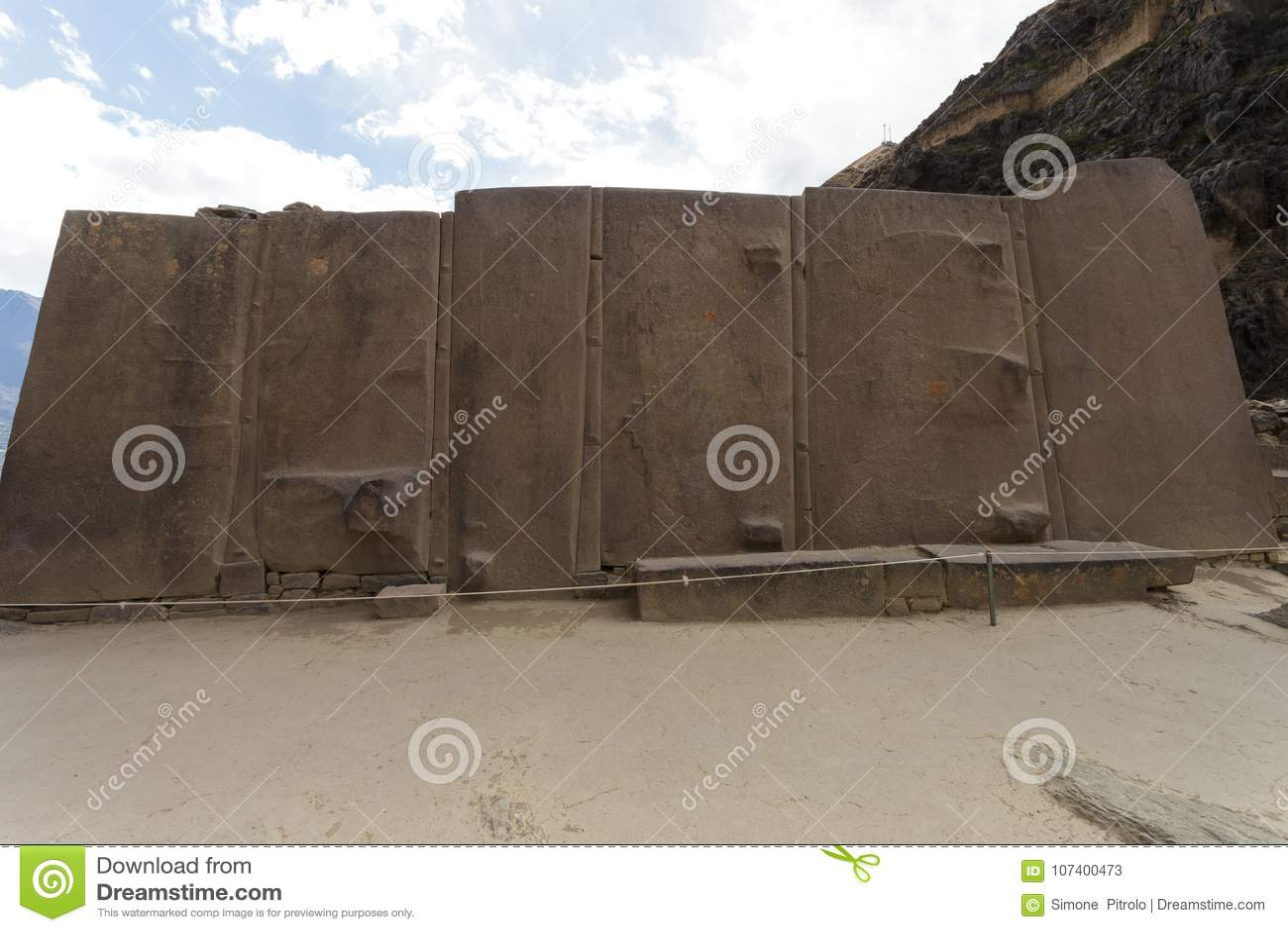Olantaytamboo,Wall of the Six Monoliths, Inca, Peru