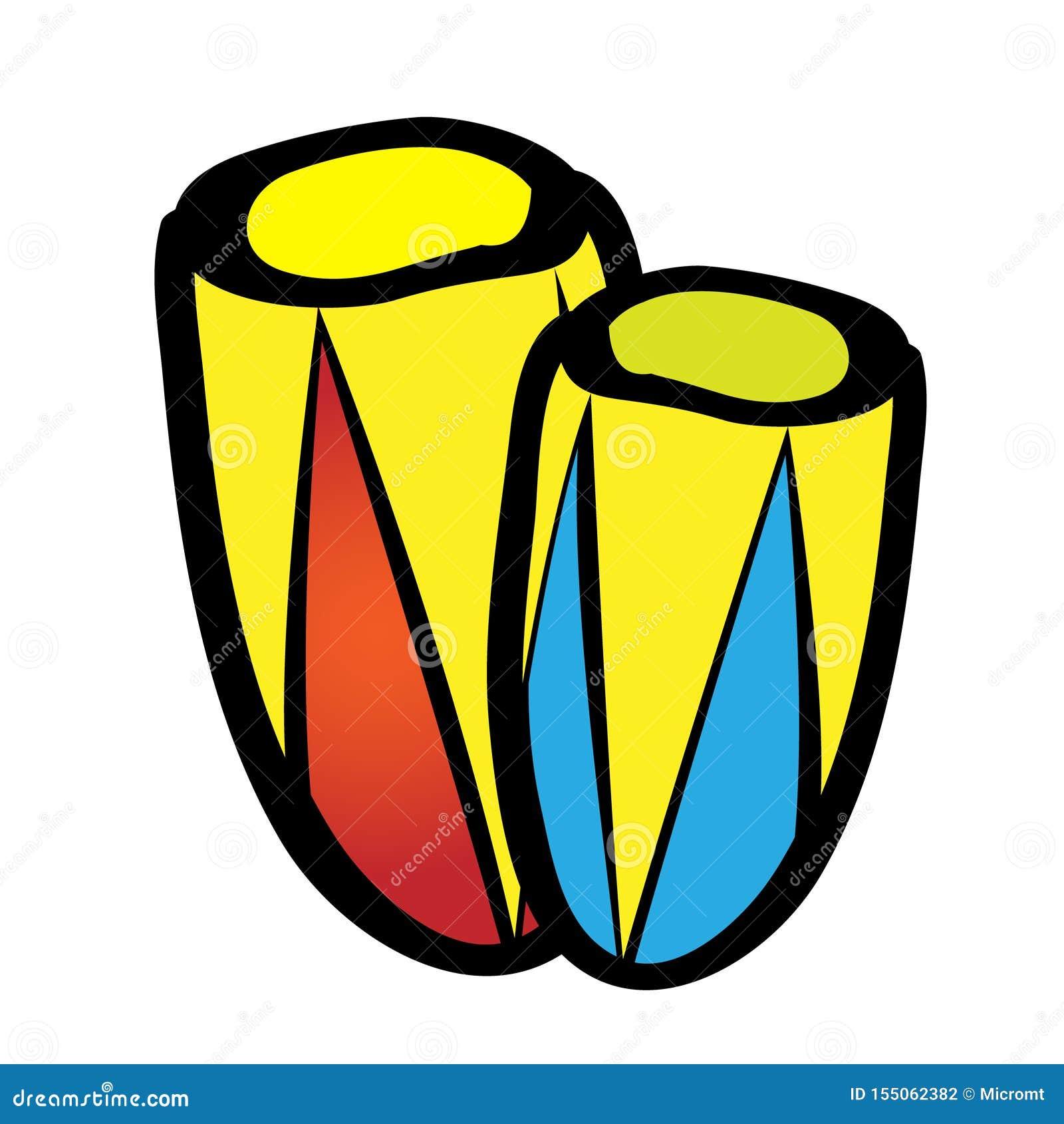 Olbrzymich bęben perkusji instrumentów muzycznych wektorowa płaska ikona Djembe odizolowywał na białym tle ?liczny kresk?wka styl