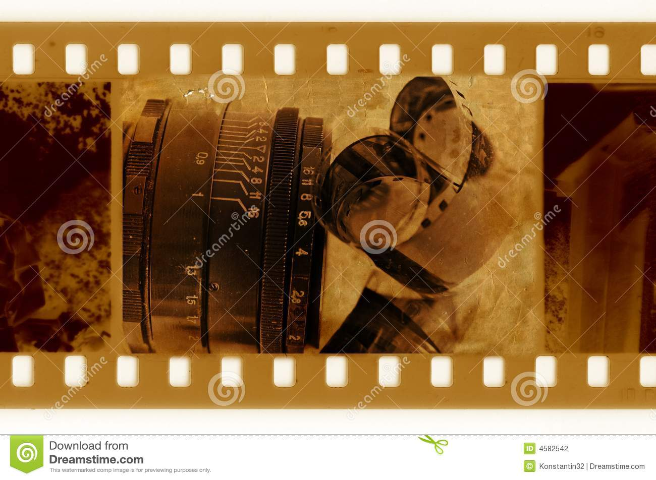 Old 35mm Frame Photo With Film Tape Stock Illustration ...