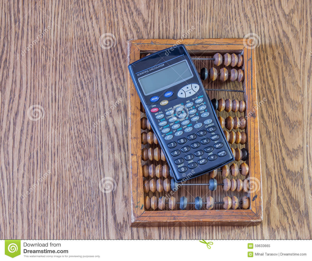 Old abacus and mathematical calculator