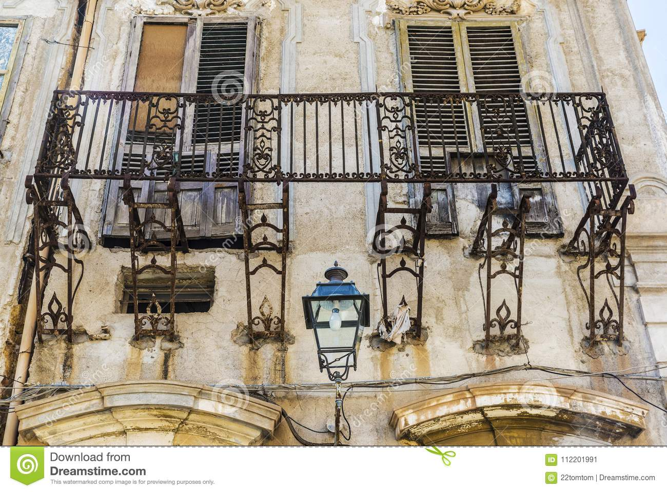 Old And Abandoned Balcony In Palermo, Sicily, Italy Stock Image ...
