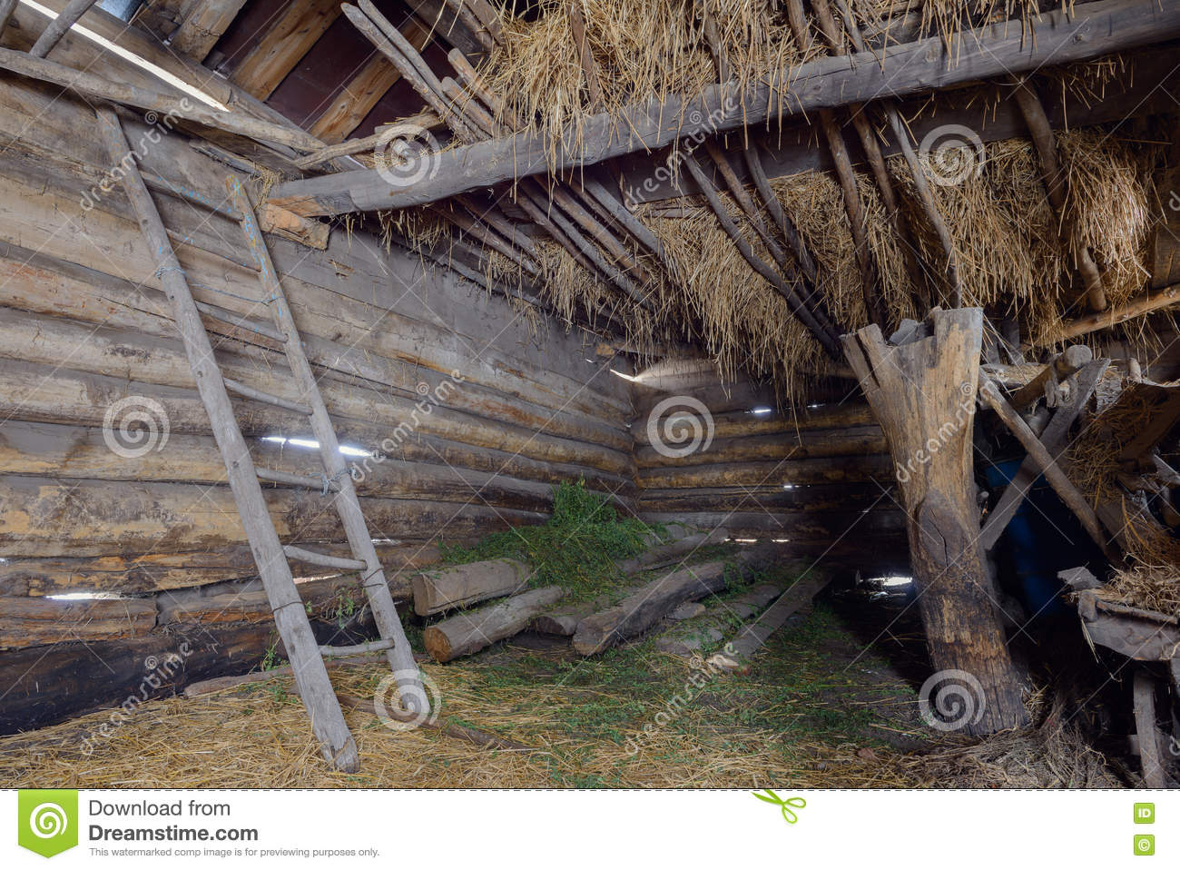 Old Abandoned Barn Stock Image Of Ladder Interior