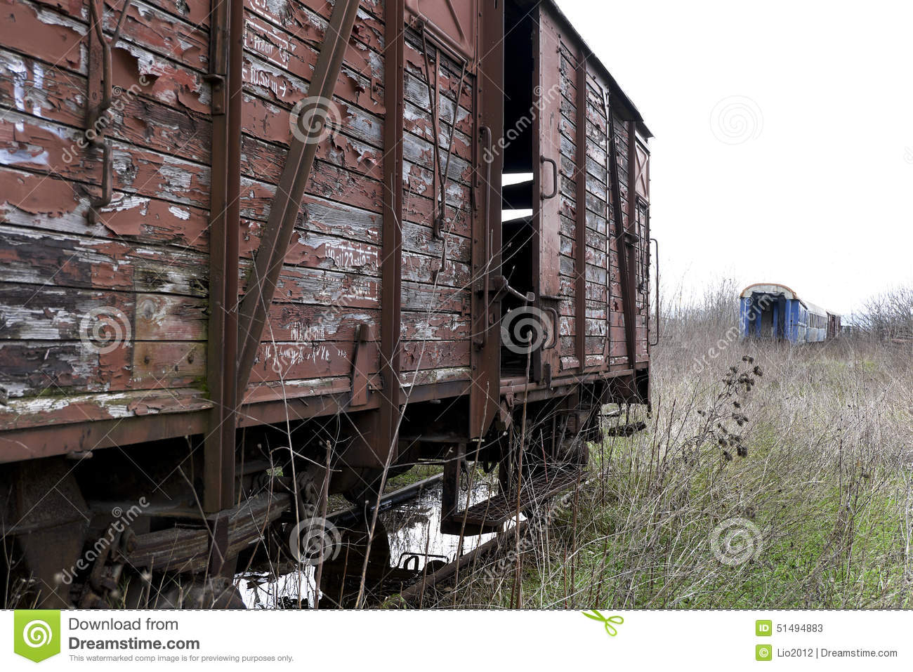 Wooden Rail Cars ~ Old and abandoned cargo train stock image of