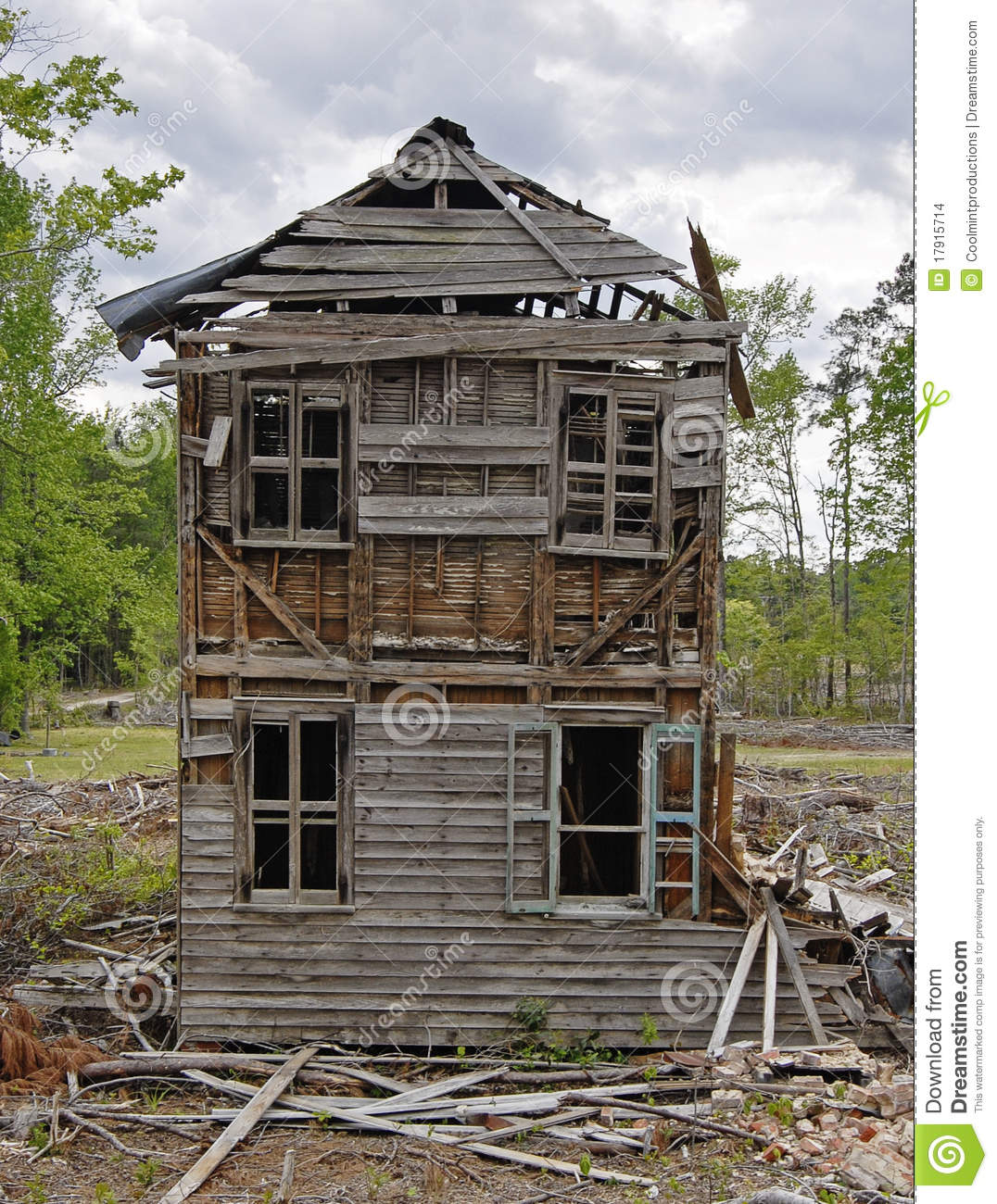 Old Abandoned Collapsing House Cloudy Day Stock Photo