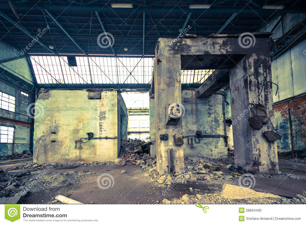Old Concrete Buildings : Old and abandoned concrete buildings stock photo image