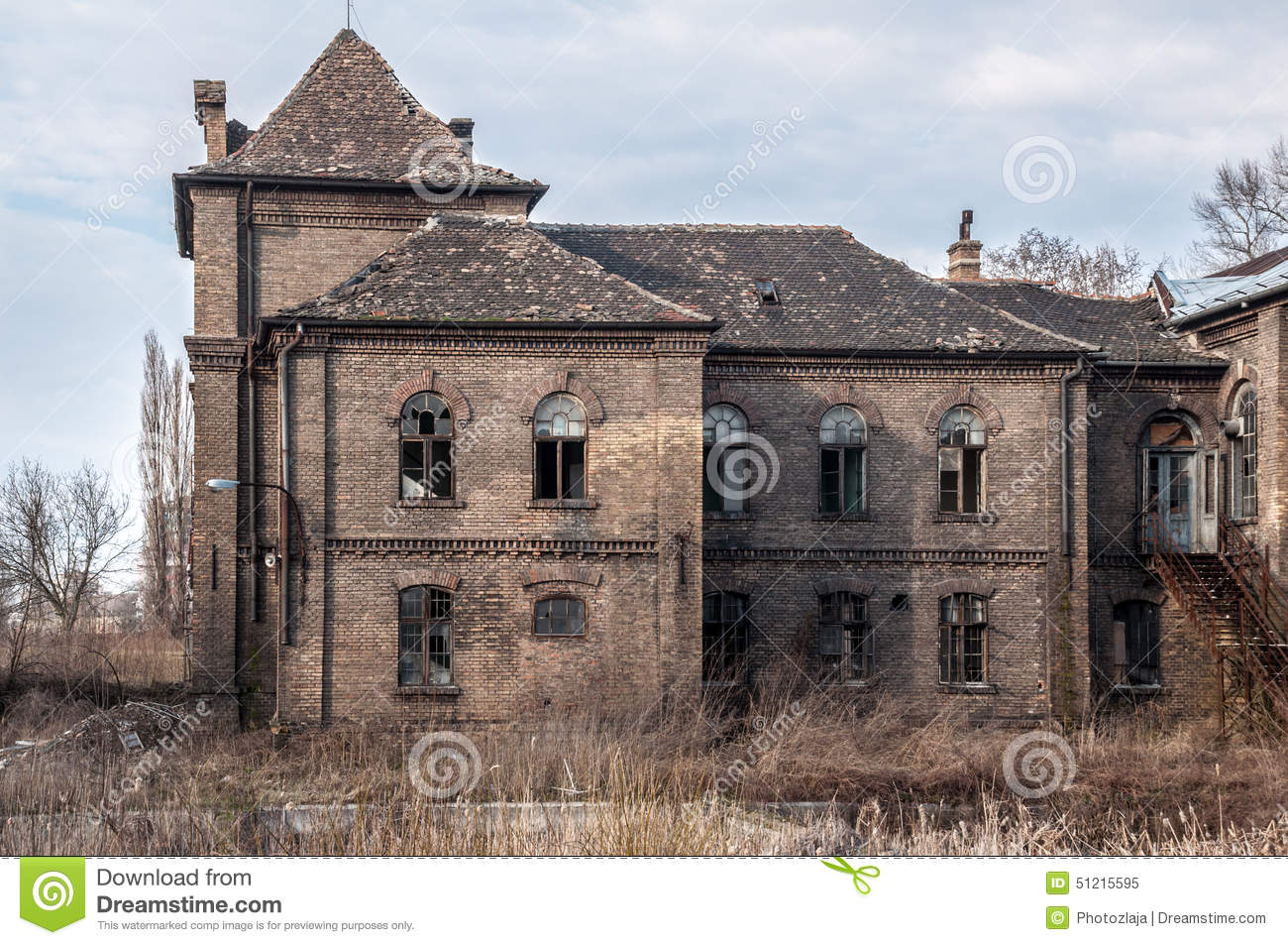 Old abandoned and destroyed house