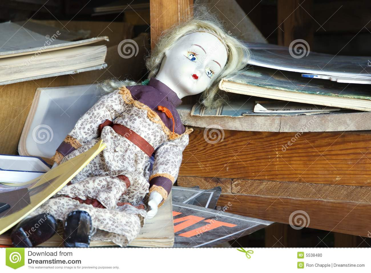 old abandoned doll on shelf stock photo image of female girl 5538480