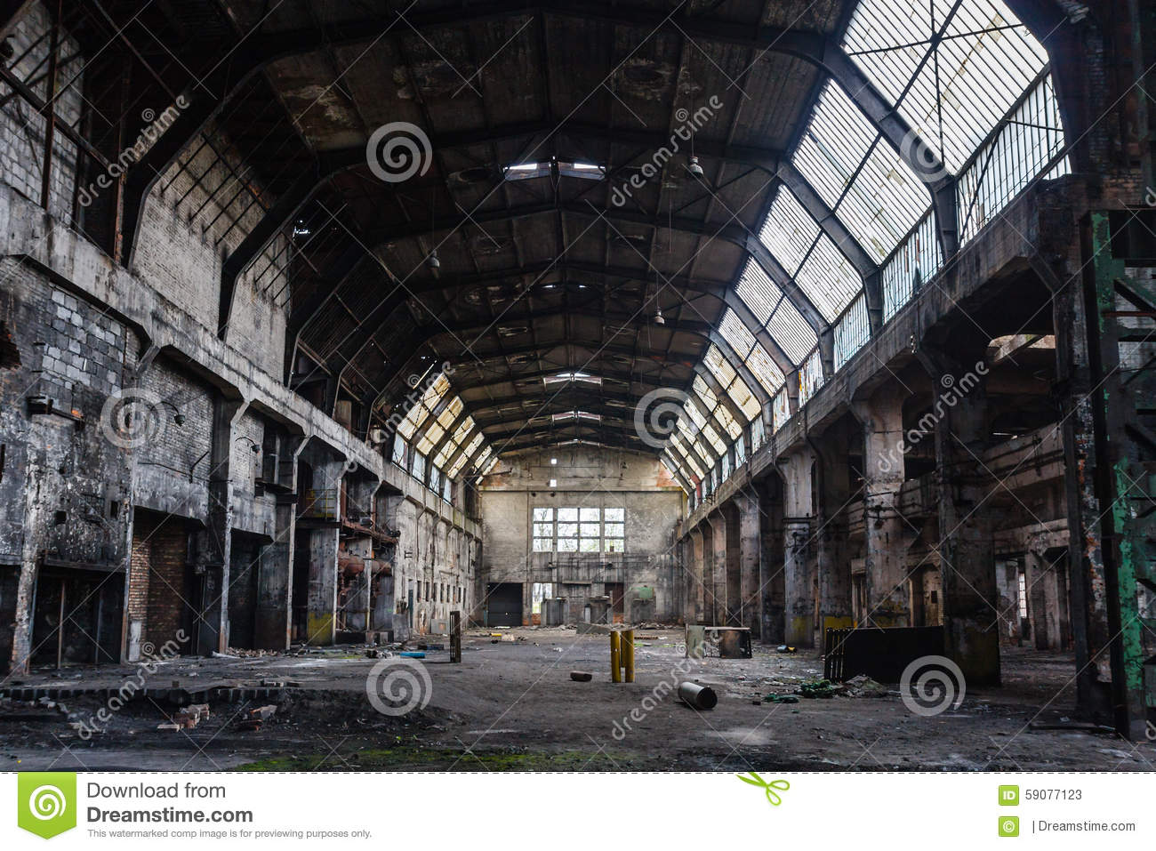 Old Abandoned Factory Hall Industrial Background Stock