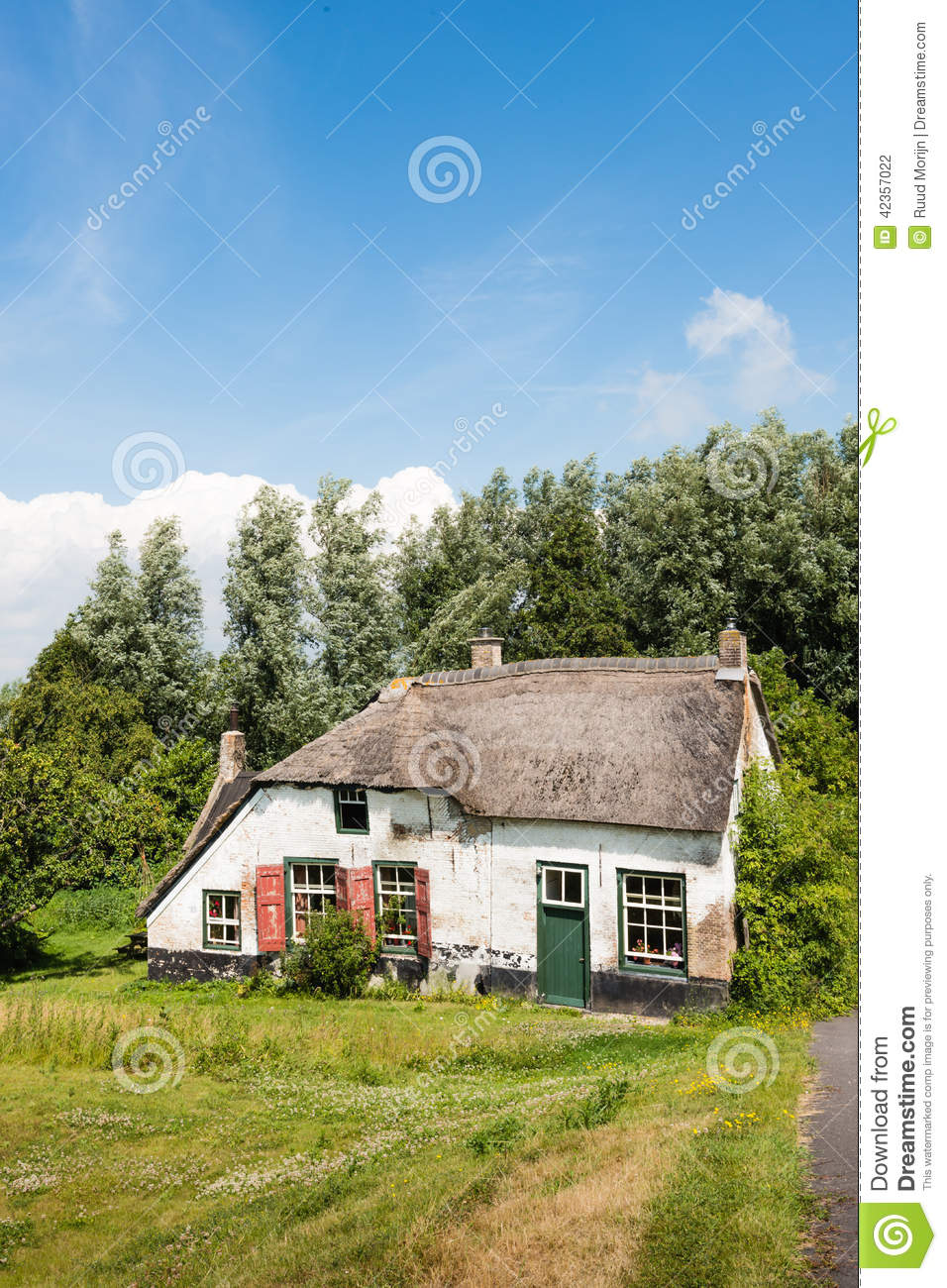 Old abandoned farm house with thatched roof stock photo for Farm house netherlands