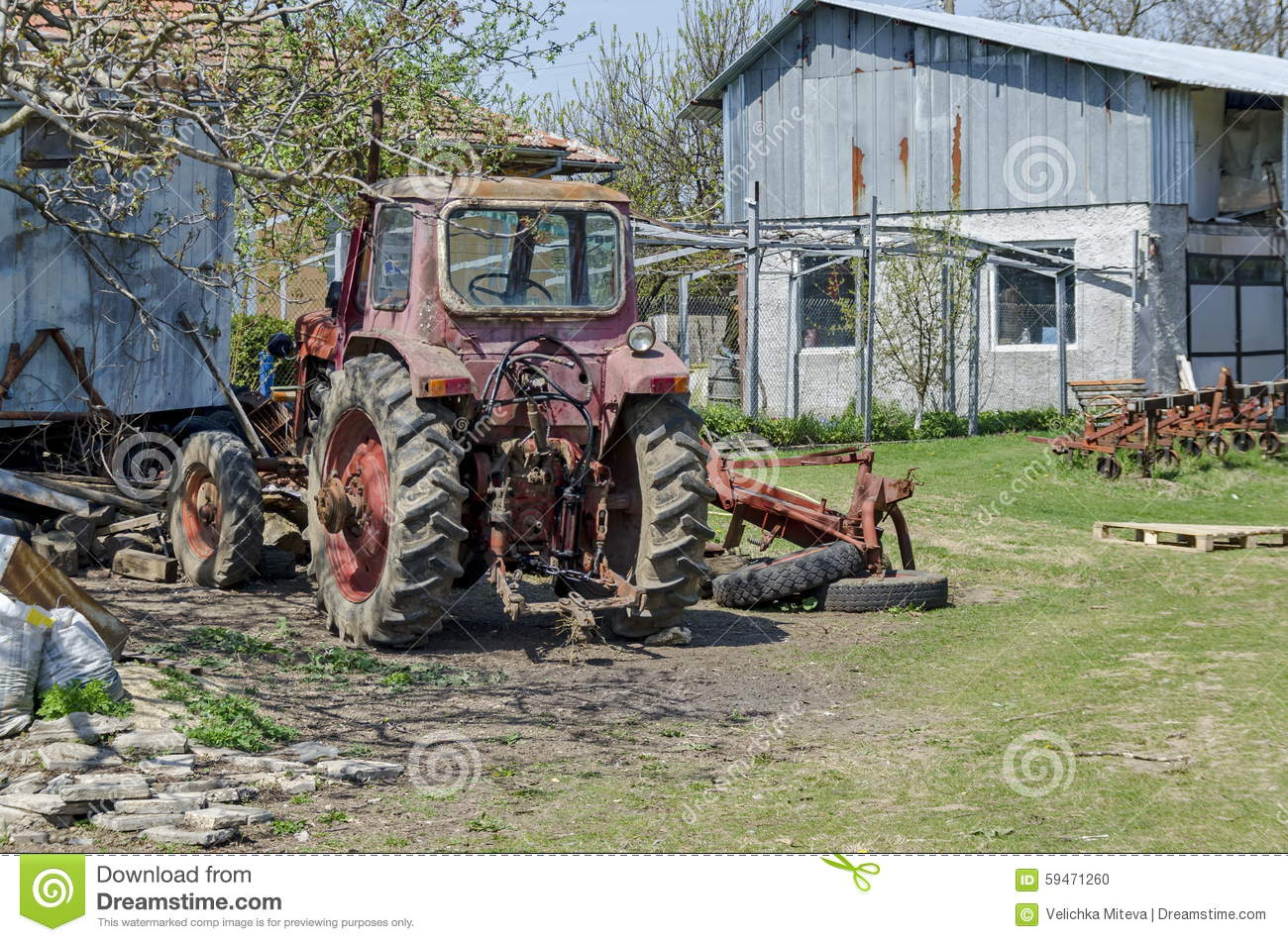 Download Old Abandoned Farm Machinery, Tractor Stock Photo - Image of trees, countryside: 59471260