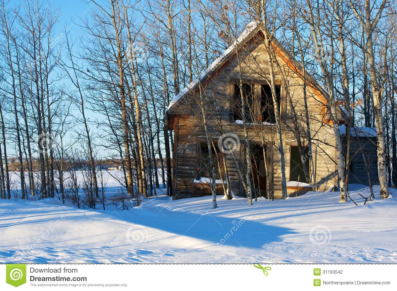 Old Abandoned Farmhouse In Winter Stock Photography