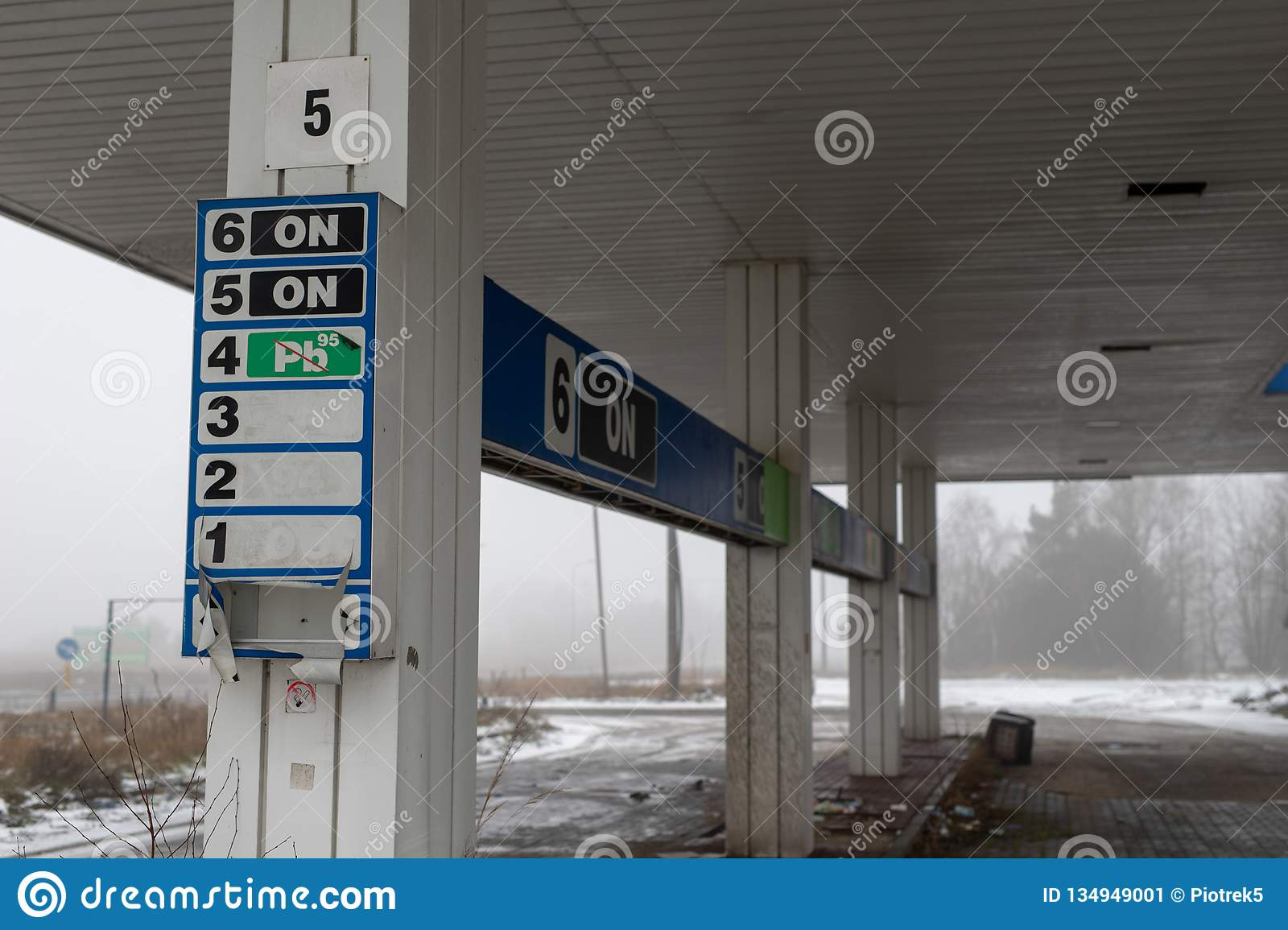 An Old Abandoned Gas Station At A Busy Road Station Ruin In Central Europe Stock Image Image Of Road Travel 134949001