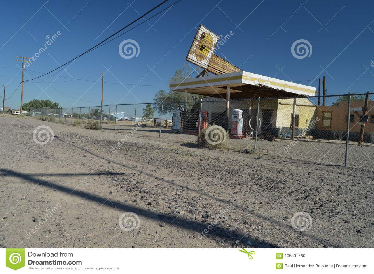 Old Abandoned Gas Station On Route 66 Editorial Image Image Of June Roadside 105801780