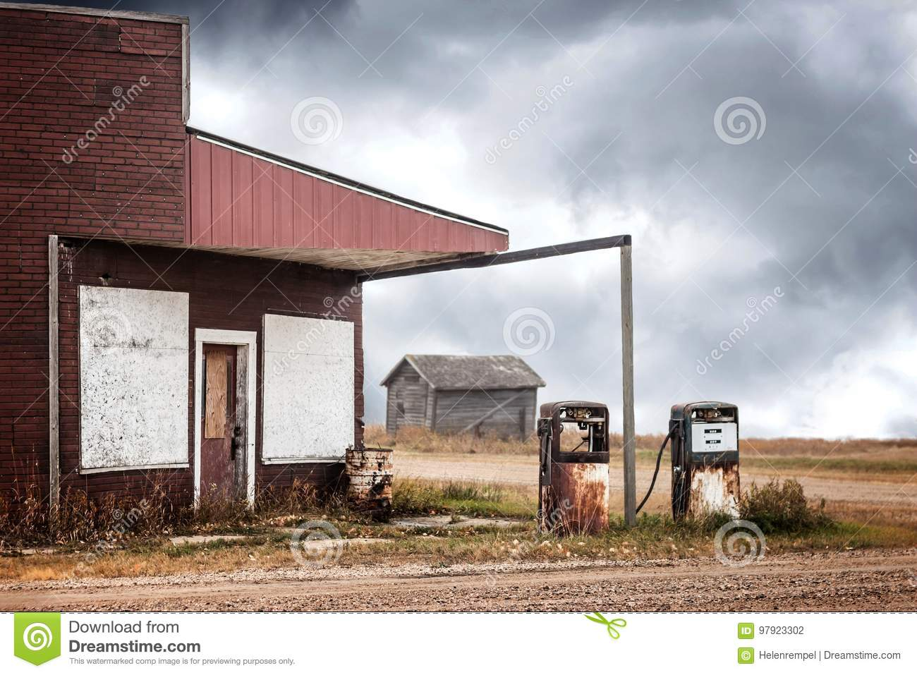 Old Abandoned Gas Station With Two Broken Gas Pumps Stock Photo Image Of Copy Rusty 97923302