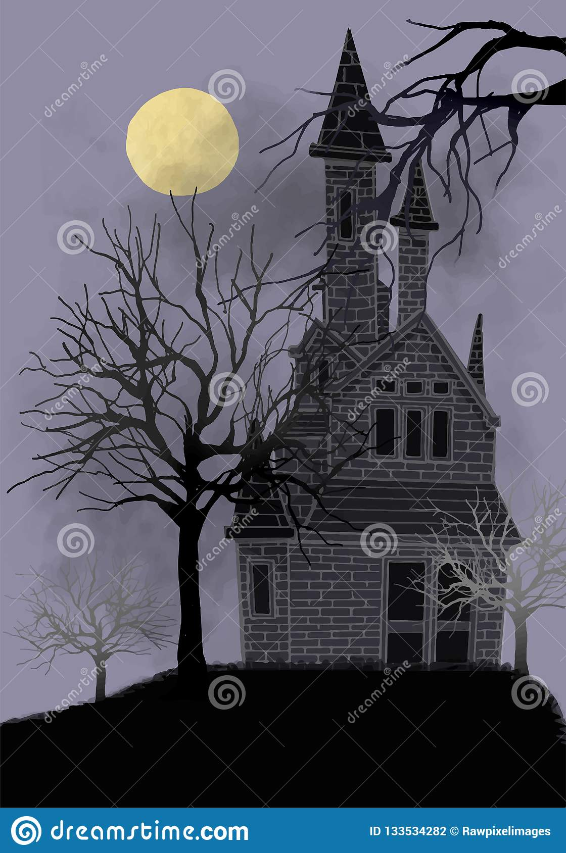Old abandoned house illustration vector