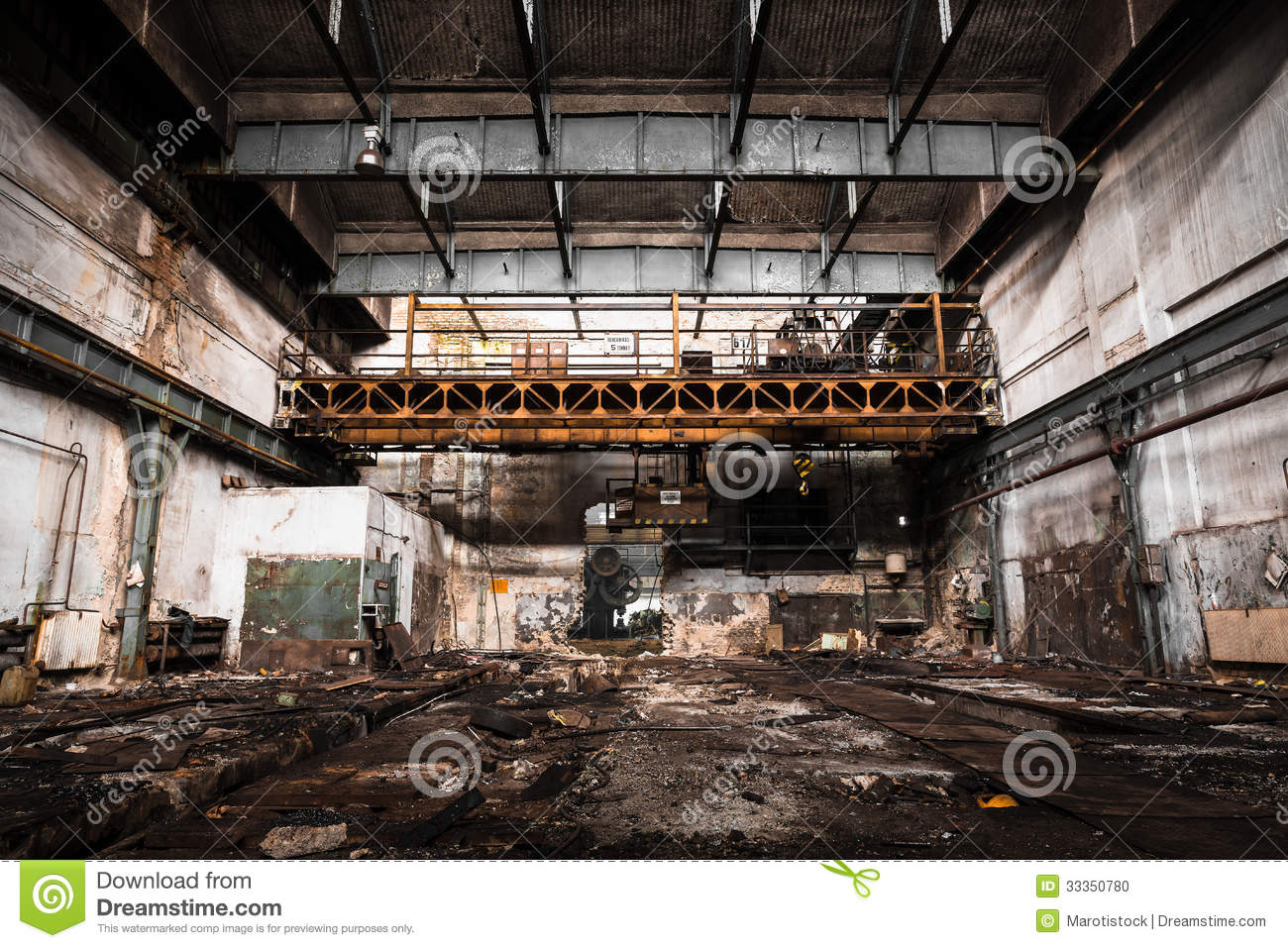 Old Abandoned Industrial Interior With Bright Light Stock