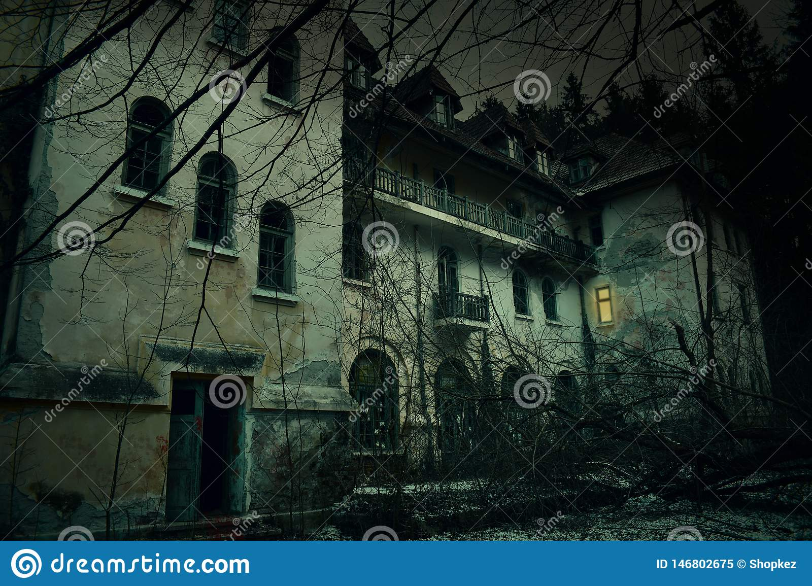 Old Abandoned Mansion In Mystic Spooky Forest The Ancient Haunted House Of Frankenstein With Dark Horror Atmosphere And Creepy Stock Image Image Of Autumn Dark 146802675