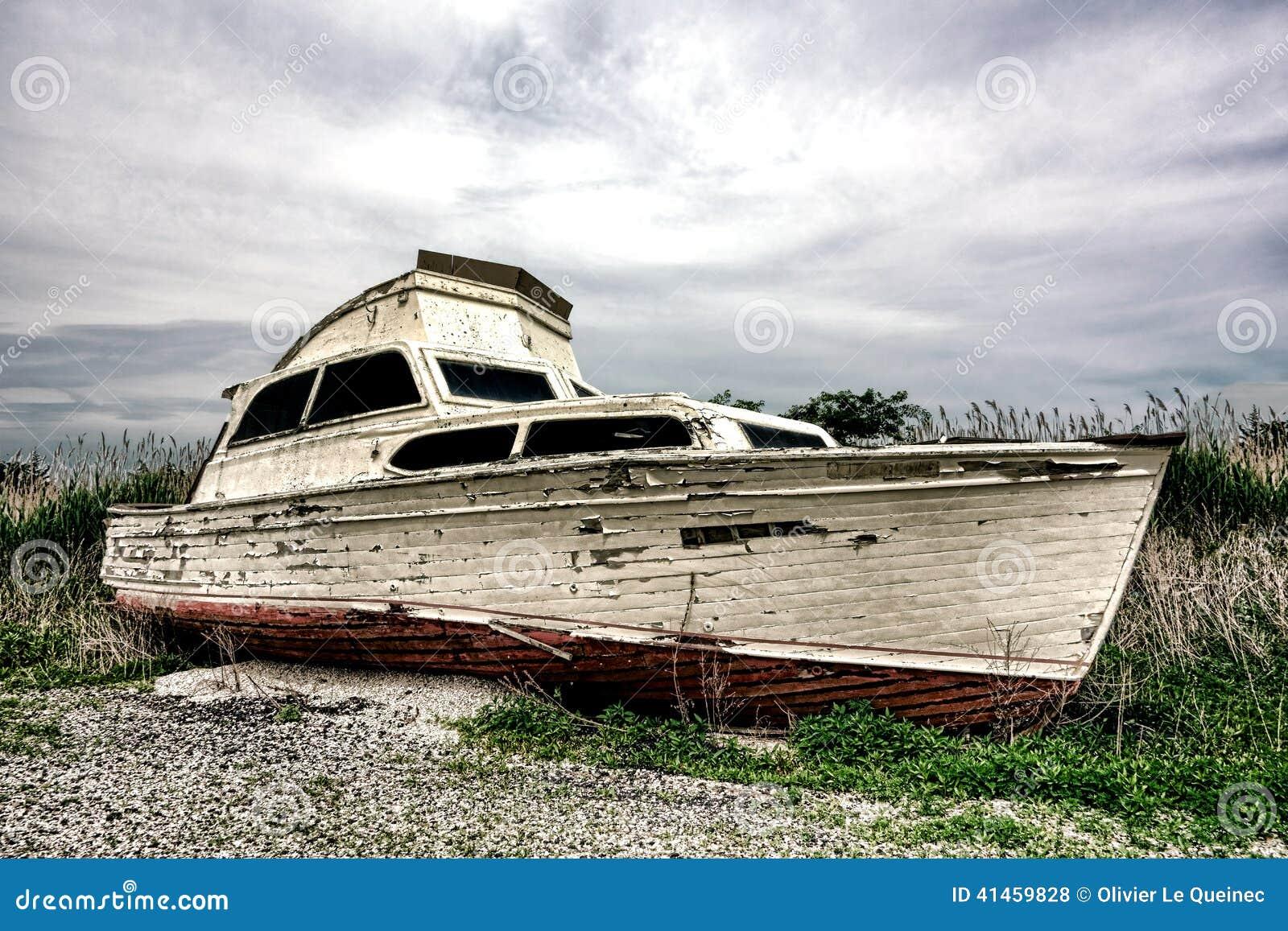 Old Abandoned Pleasure Recreational Boat On Land Stock ...