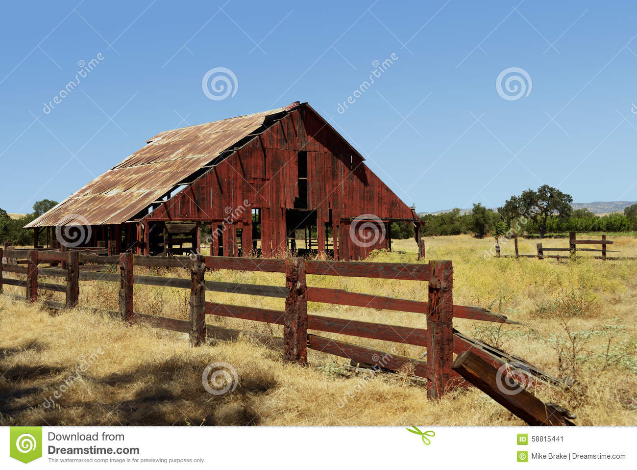 Old Abandoned Red Barn Stock Photo Image 58815441