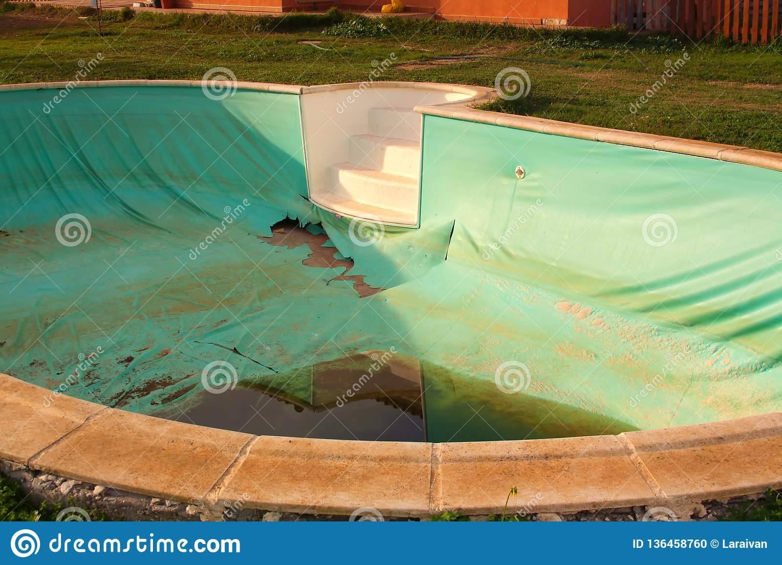 Abandoned Pool In A Private House Stock Photo Image Of Blue Drought 136458760