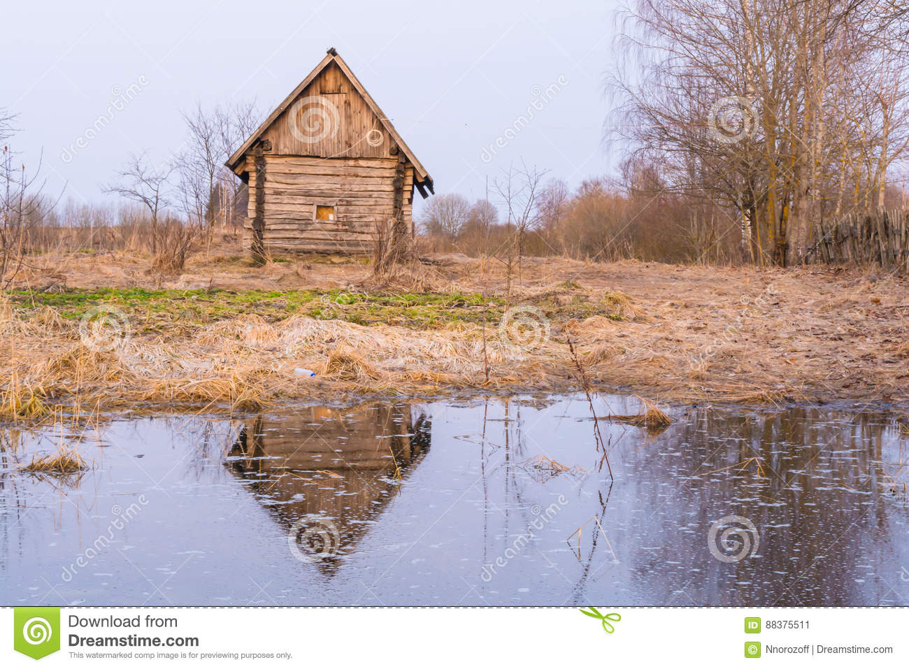 Old house and pond royalty free stock image for Building a small pond