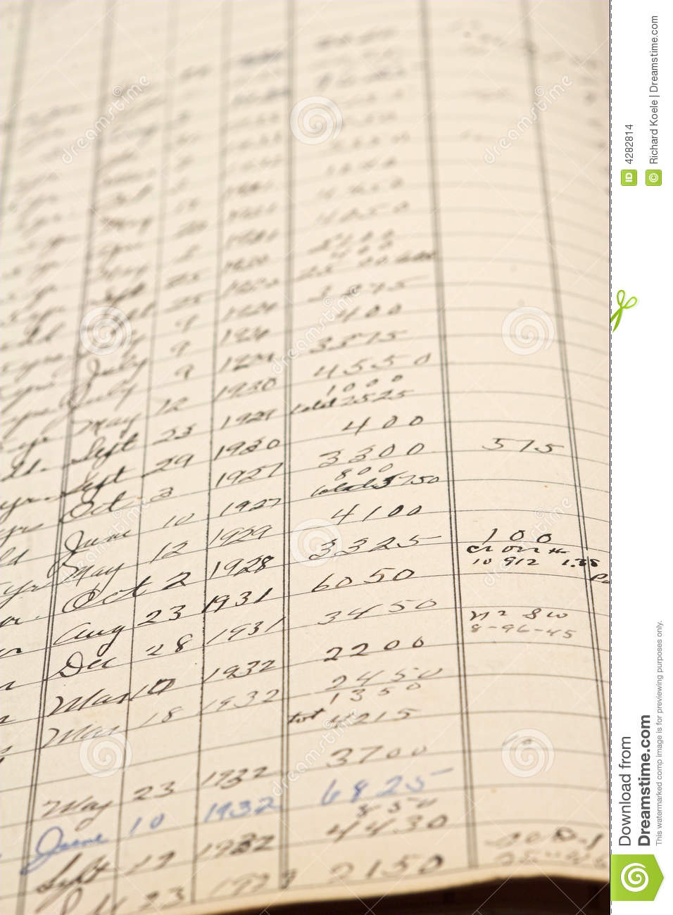 old accounting ledger stock images