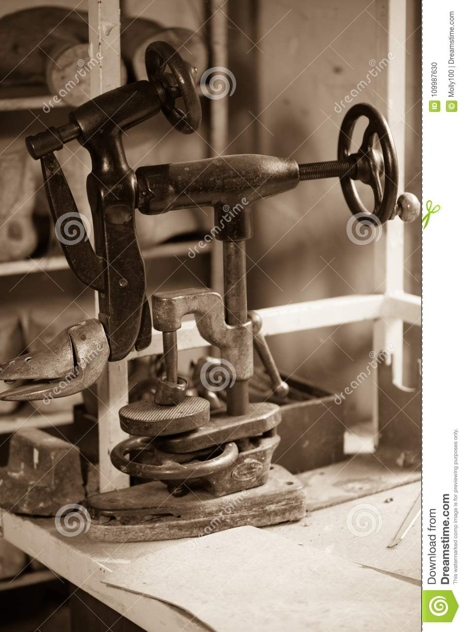 Old Adhesive Container In A Shoemaking Shop Stock Photo - Image of