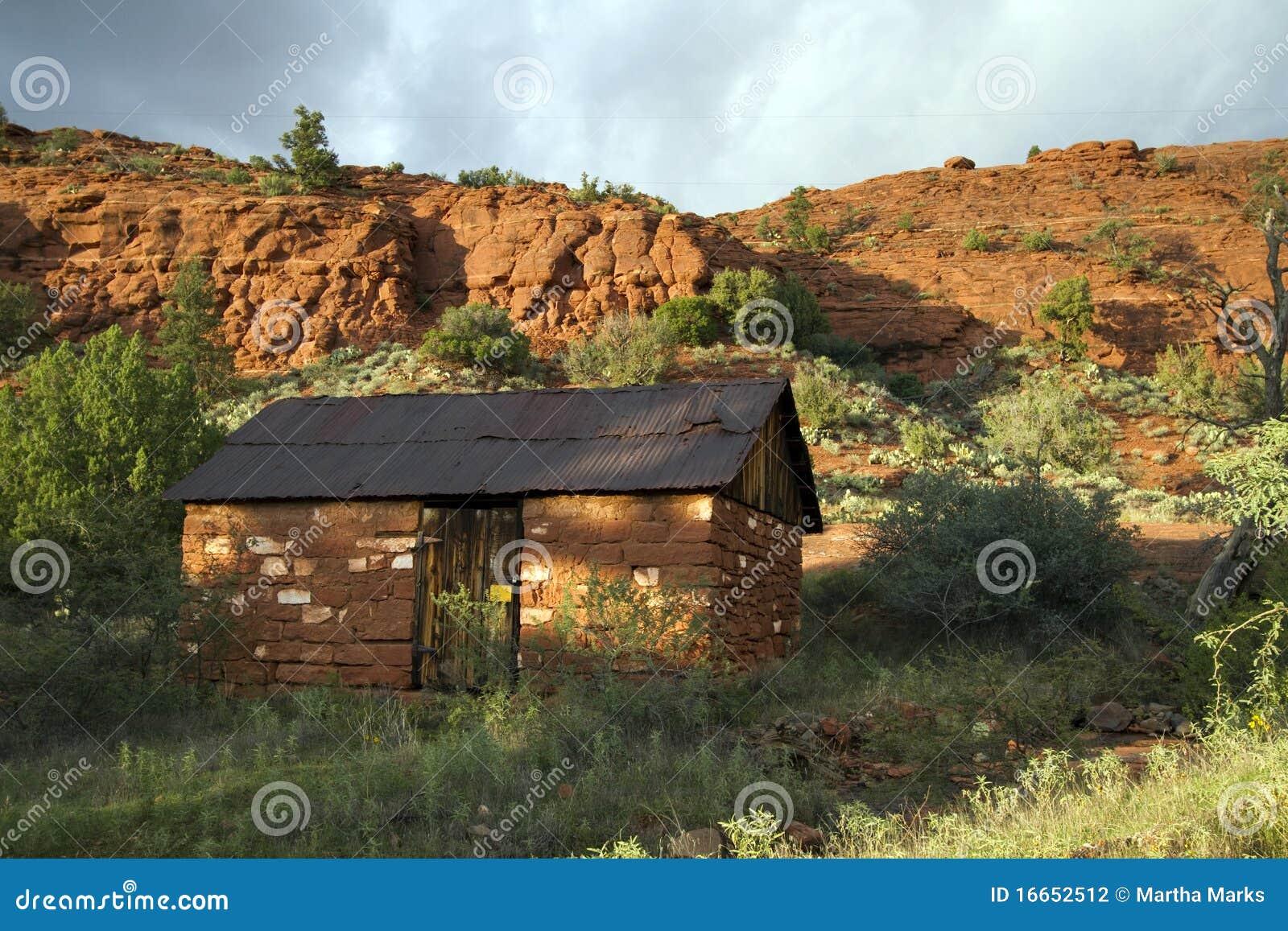 Old adobe cabin sedona arizona stock photography image for Cabin in sedona az