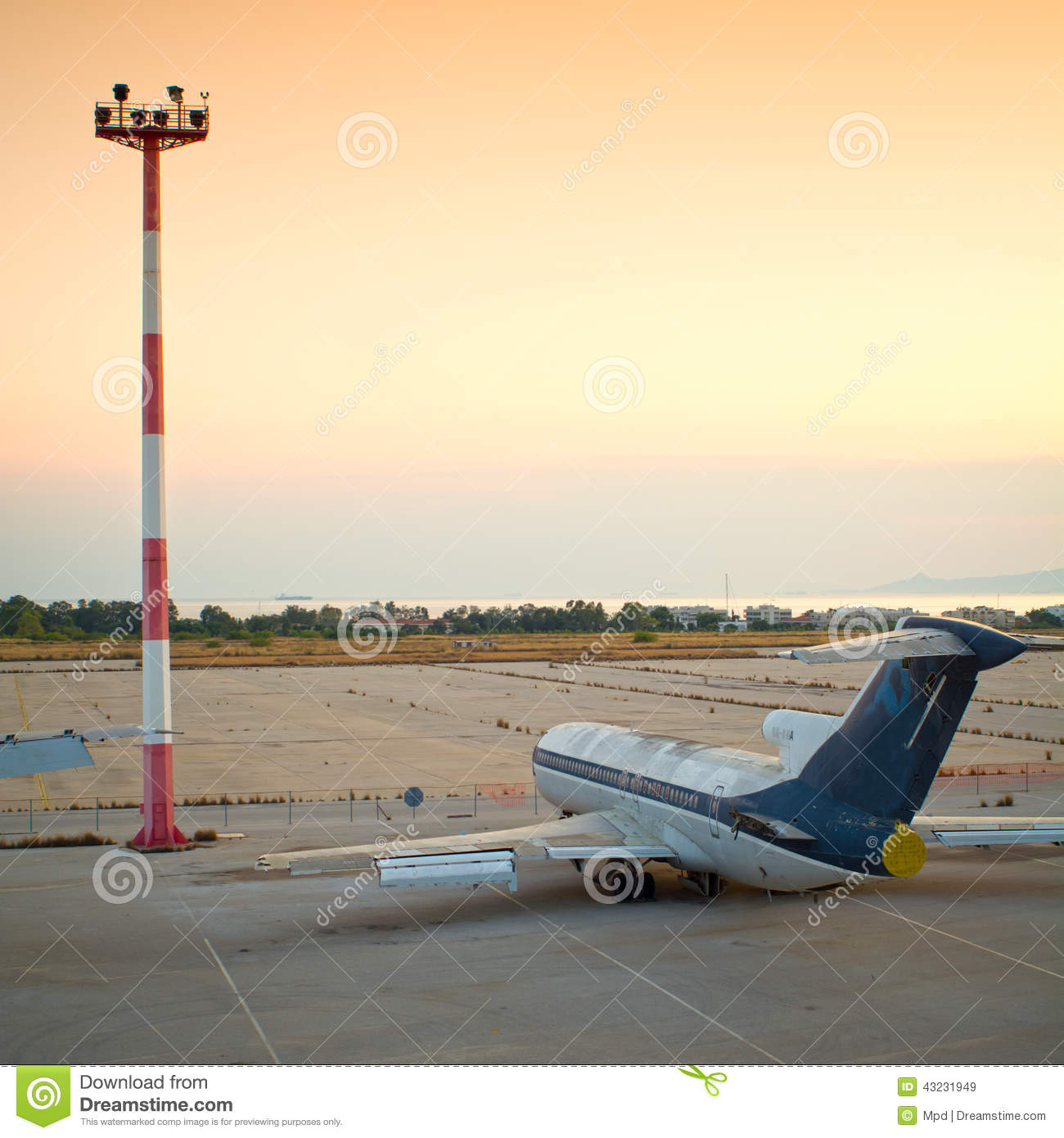 Old Aircraft At An Abandoned Airfield Stock Image
