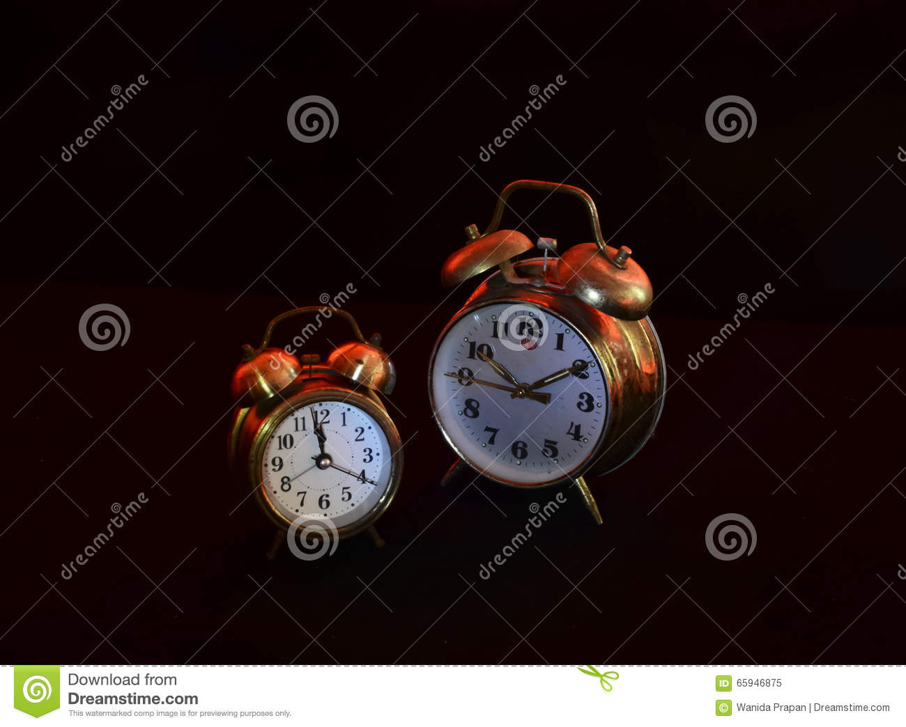 Back Of An Old Alarm Clock Stock Photo