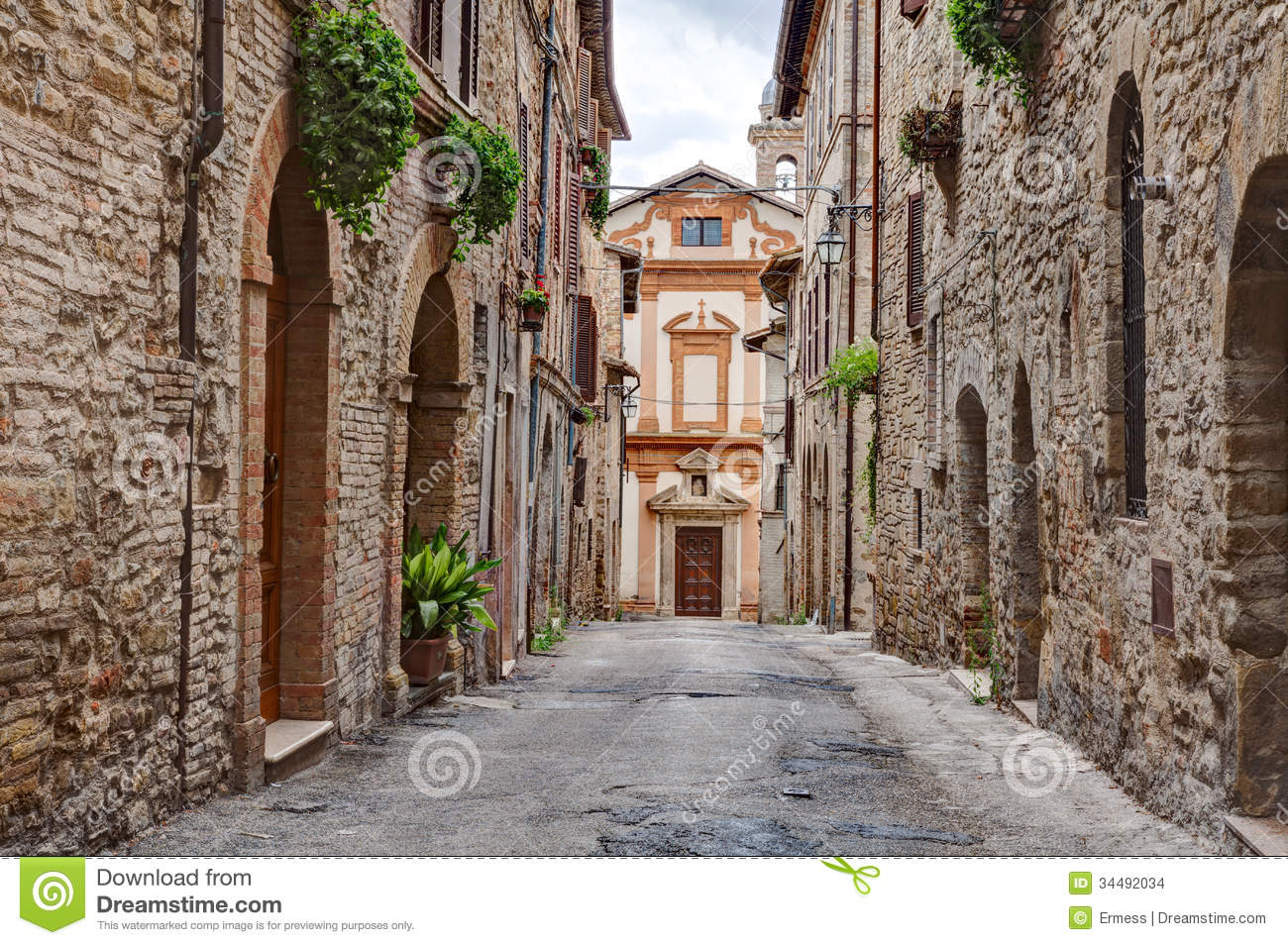 Old Alley In Trevi Umbria Italy Stock Photo Image