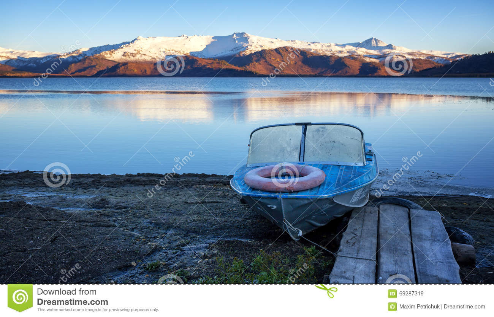 Old Aluminum Boat On Lake Shore Stock Photo Image 69287319
