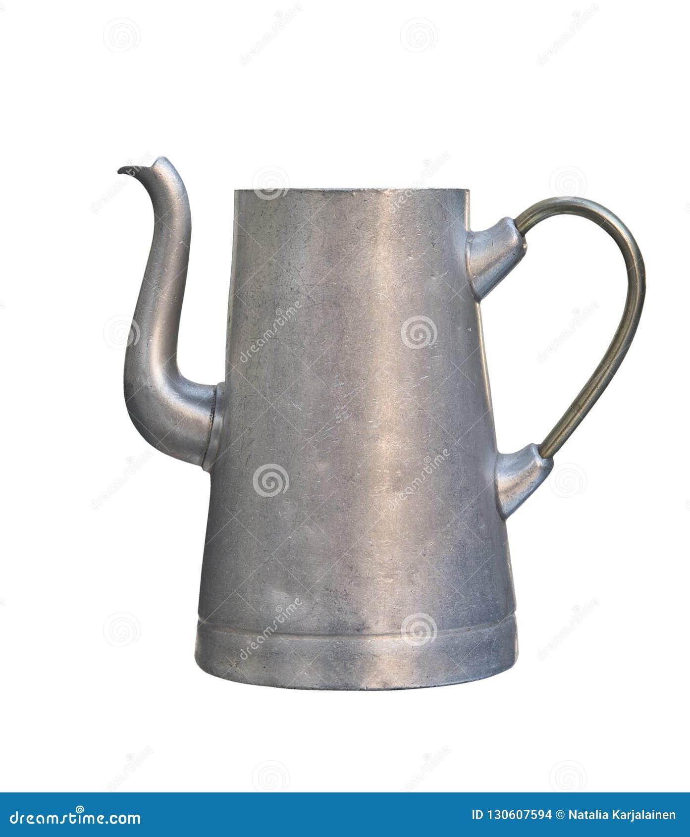 Old aluminum kettle isolated on white background.