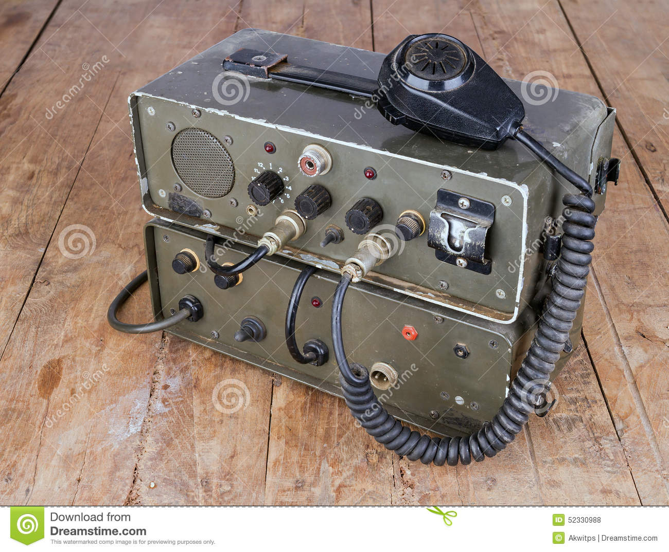 Old Amateur Ham Radio On Wooden Table Stock Photo - Image of