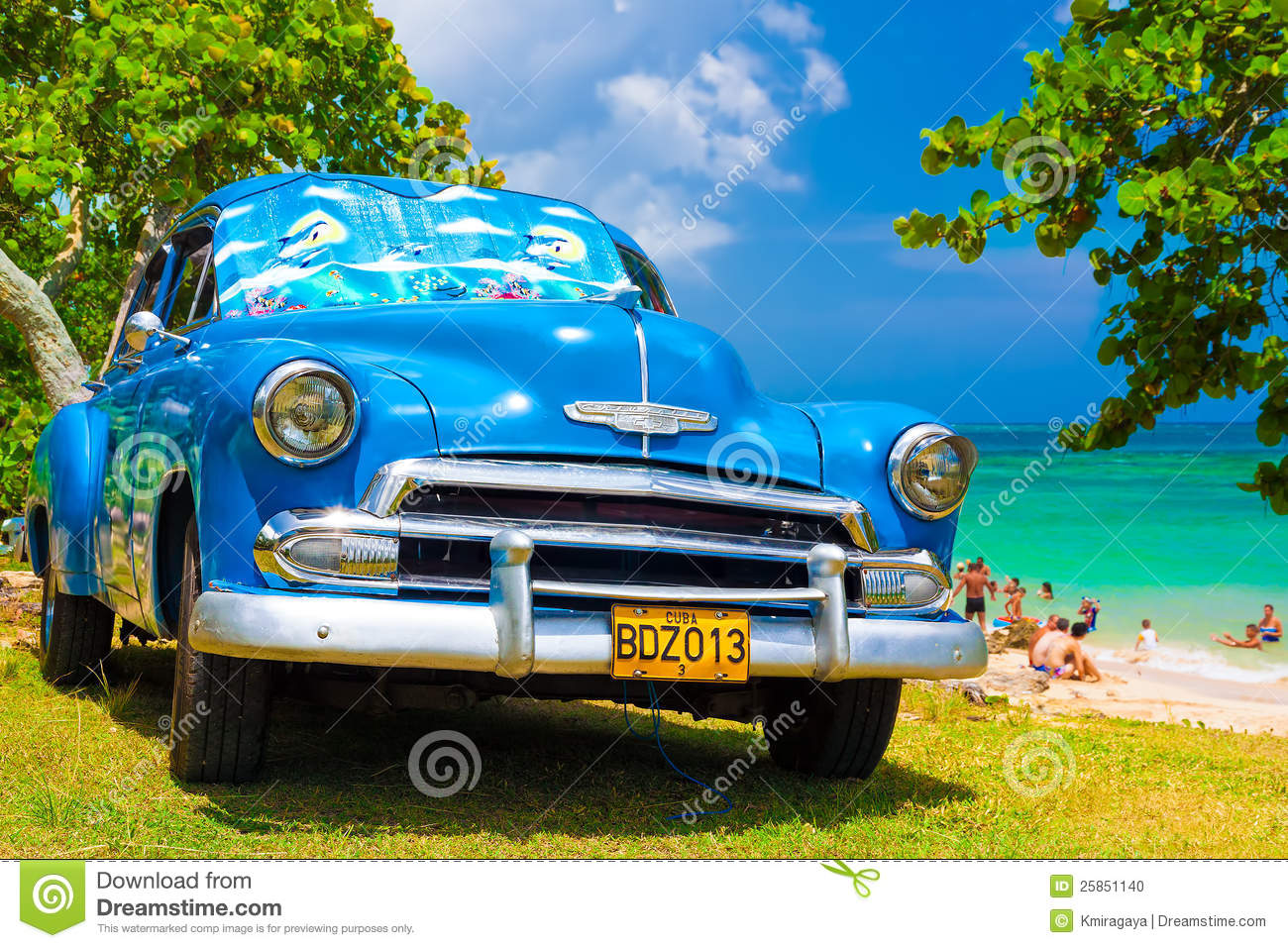 Old American Car At A Beach In Cuba Editorial Image Image
