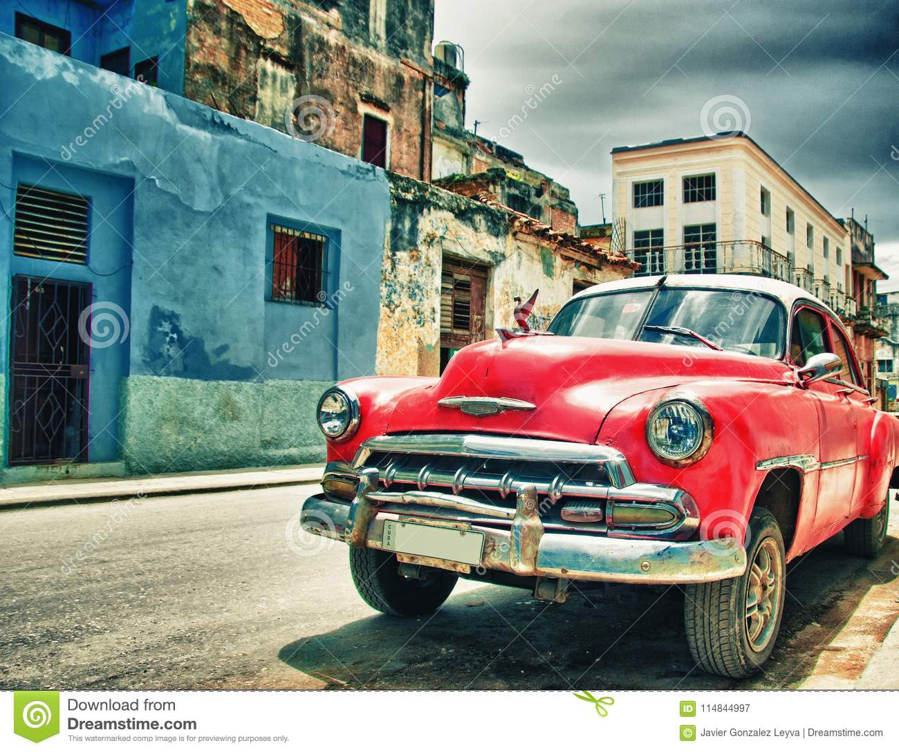 Old american car parked on the street of habana, cuba