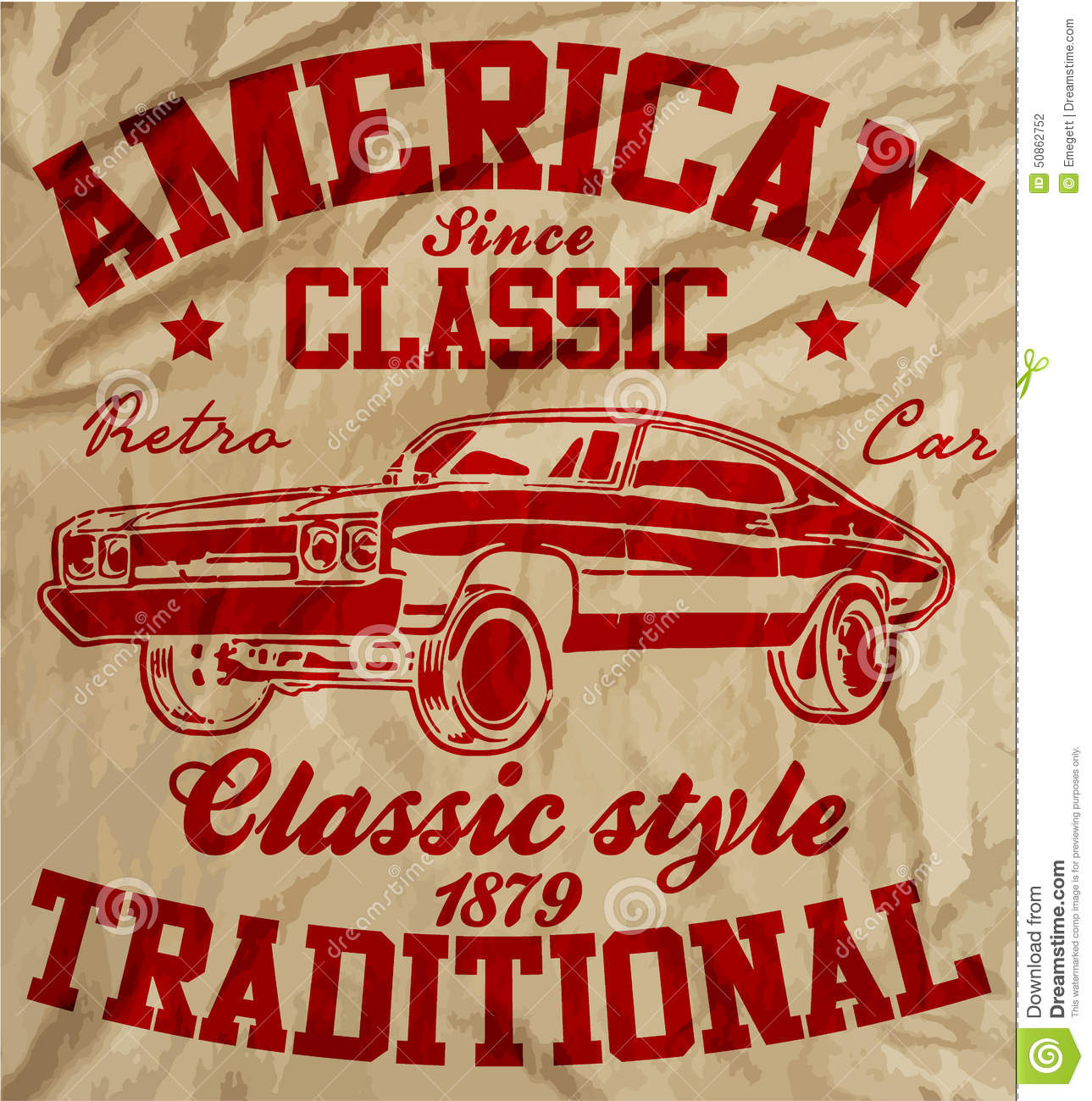 Old American Car Vintage Classic Retro Man T Shirt Graphic