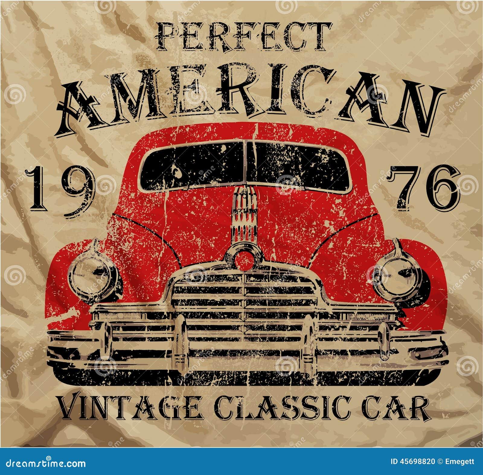 Shirt design vintage - Old American Car Vintage Classic Retro Man T Shirt Graphic Design Stock Photo