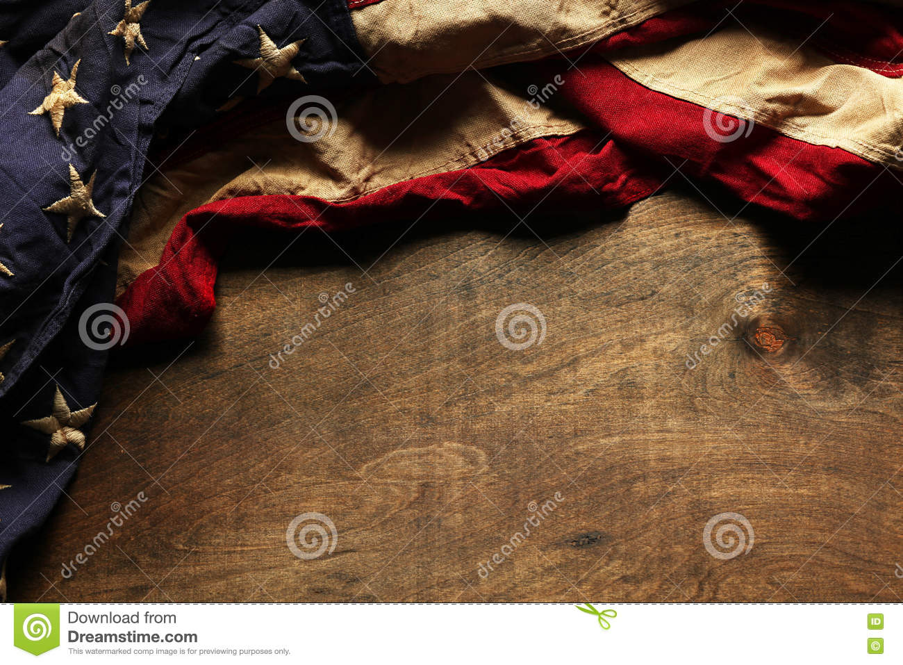 Old American flag for Memorial Day or 4th of July